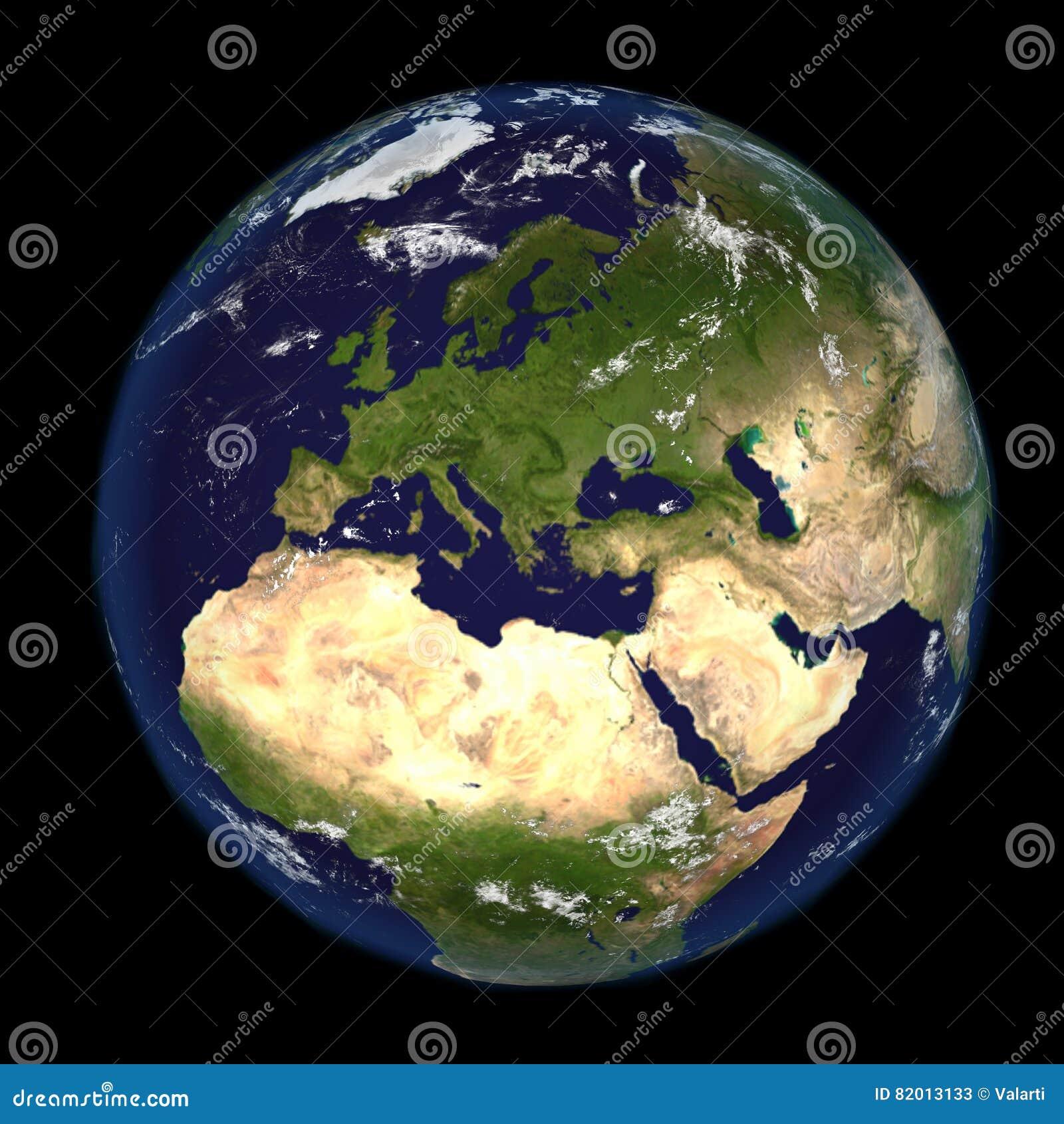 La tierra del espacio que muestra Europa y África 3d rinden el ejemplo Otras orientaciones disponibles