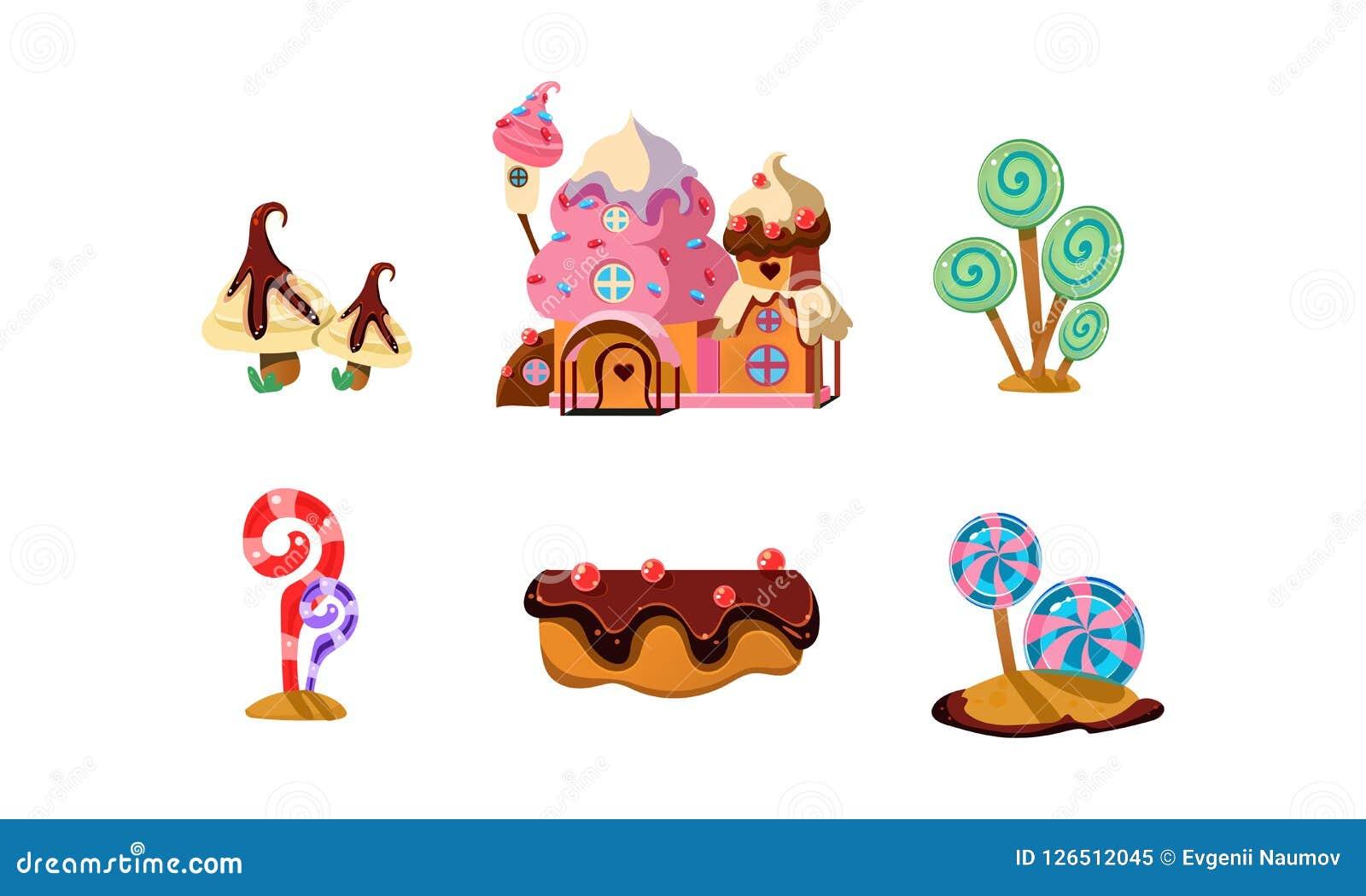 La tierra dulce del caramelo, los elementos lindos de la historieta de la fantasía ajardina para el ejemplo móvil del vector del