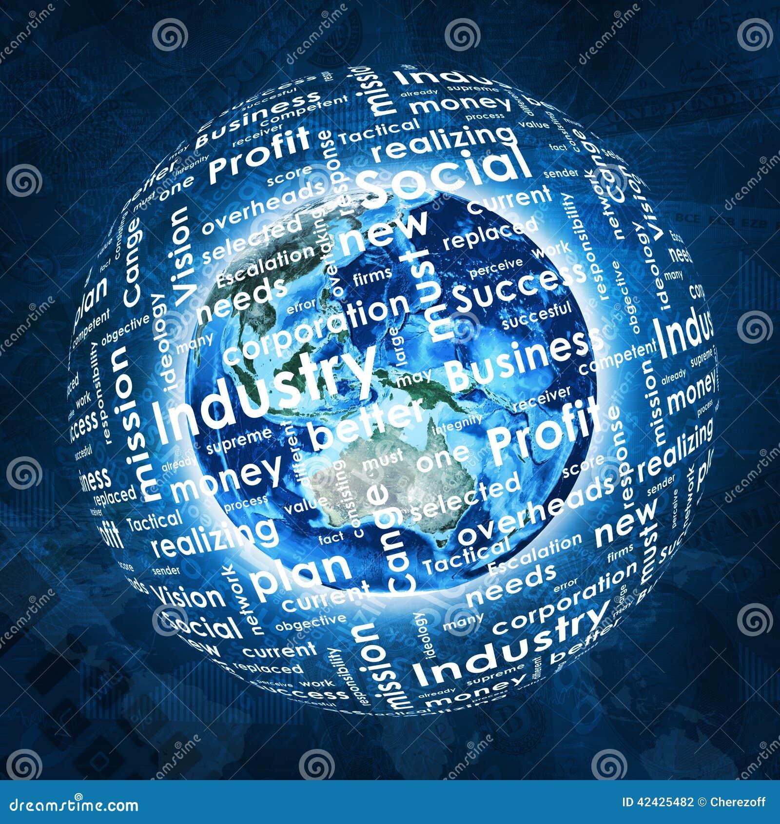 La tierra, esfera consiste las palabras del negocio y los gráficos