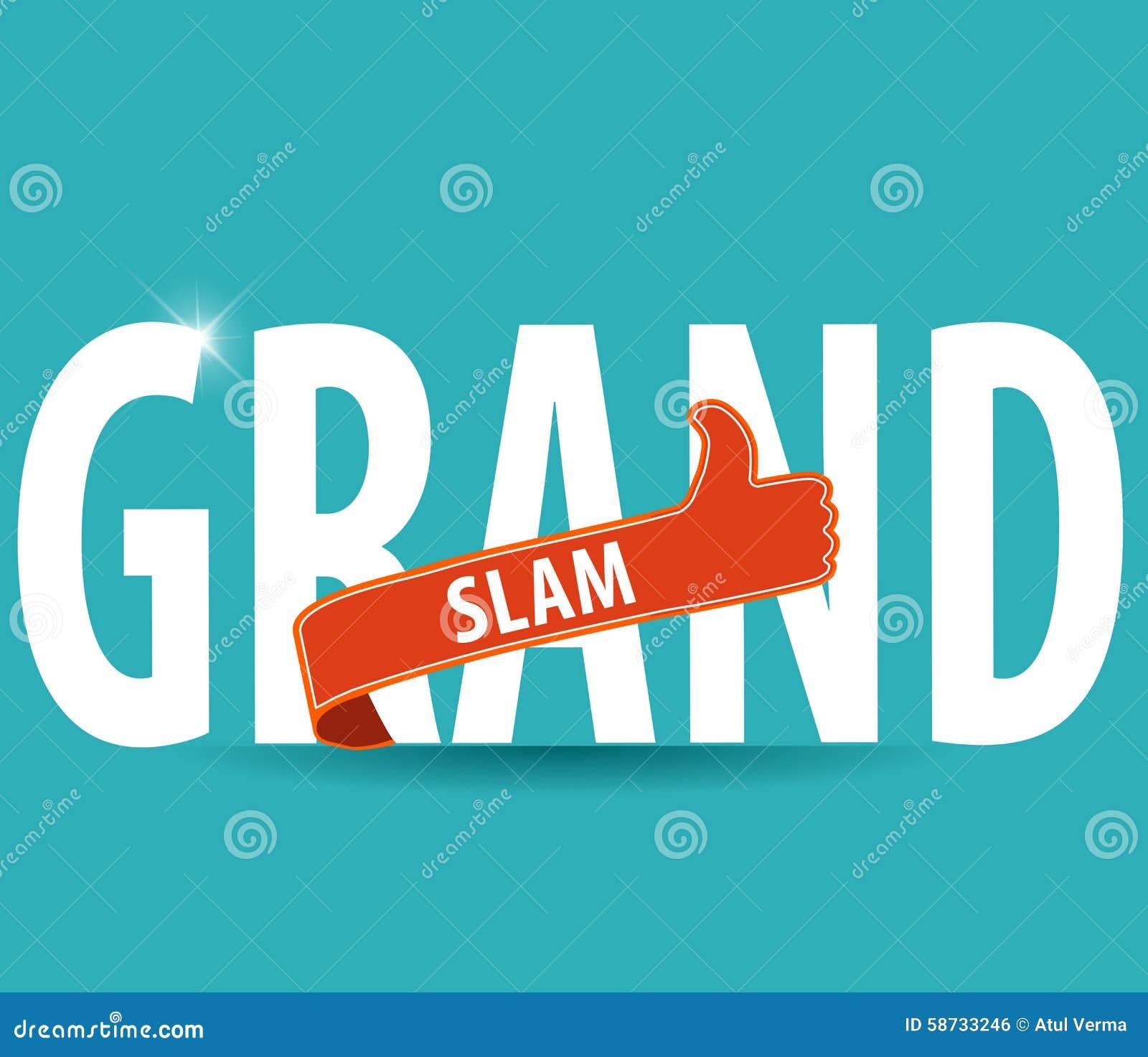 La tipografia del Grande Slam con i pollici aumenta e fondo luminoso