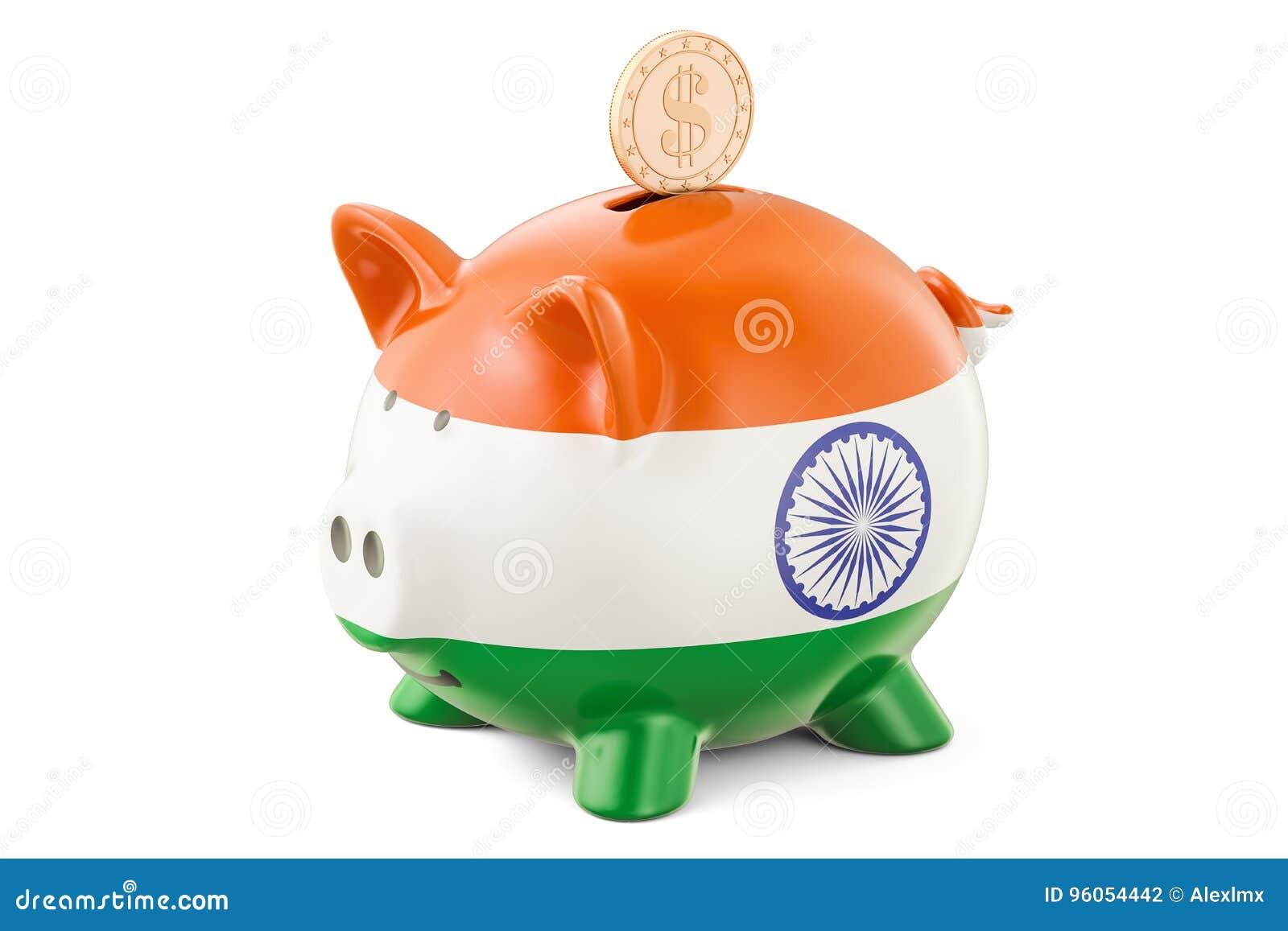 La tirelire avec le drapeau de l Inde et le dollar d or inventent investissement