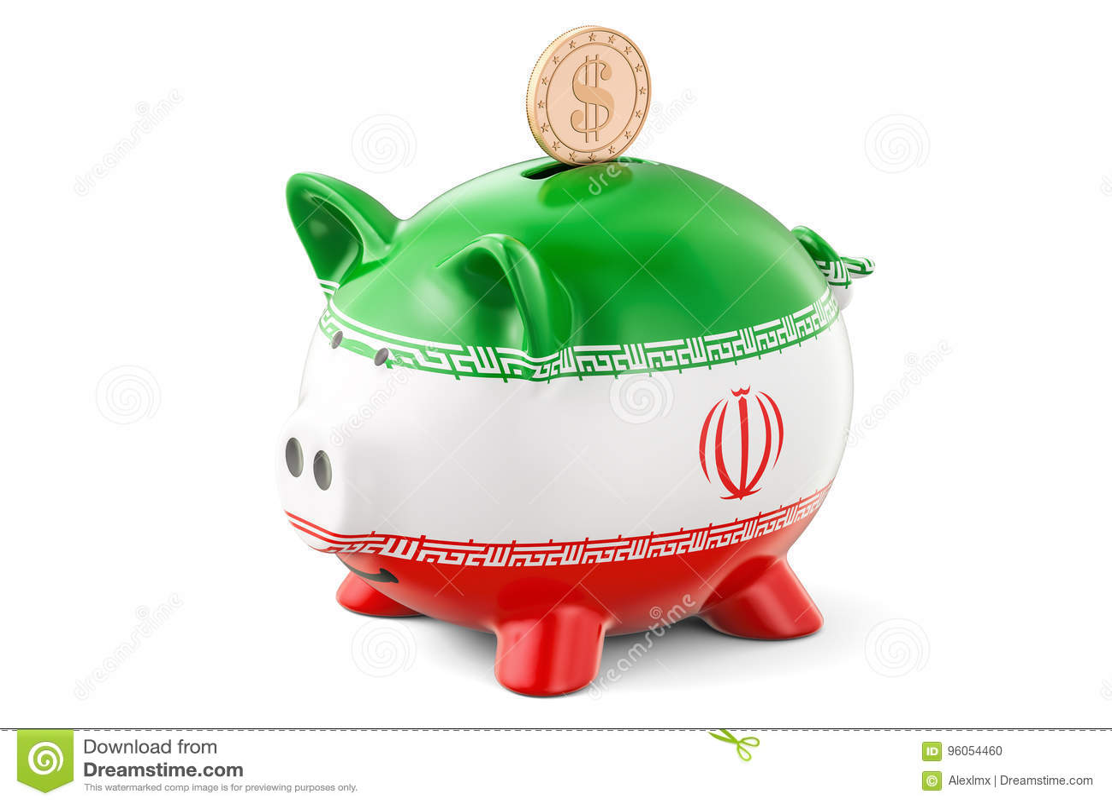 La tirelire avec le drapeau de l Iran et le dollar d or inventent placements