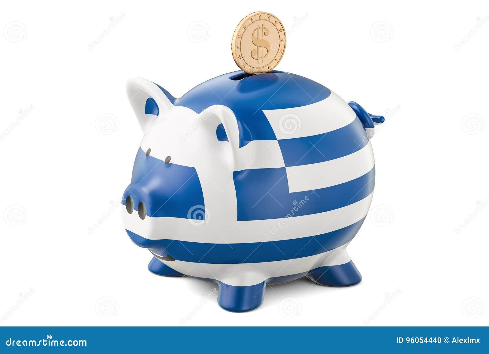 La tirelire avec le drapeau de la Grèce et le dollar d or inventent Investmen