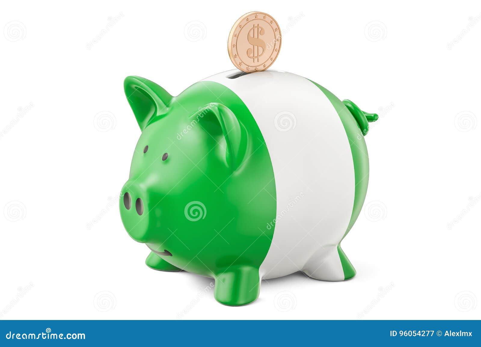 La tirelire avec le drapeau du Nigéria et le dollar d or inventent Investme