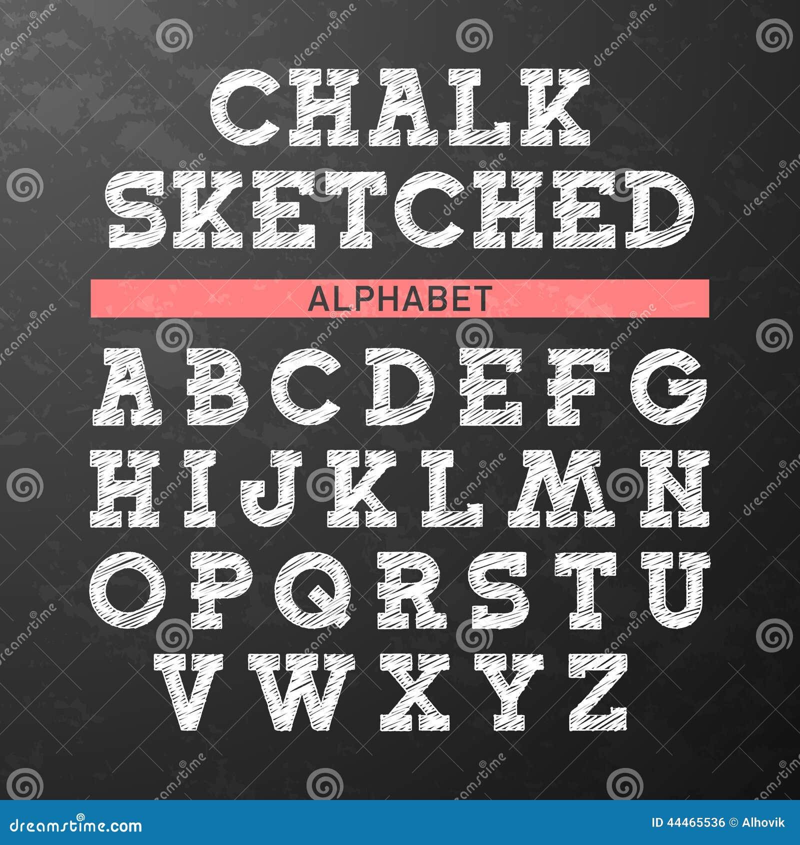 La tiza bosquejó la fuente, alfabeto