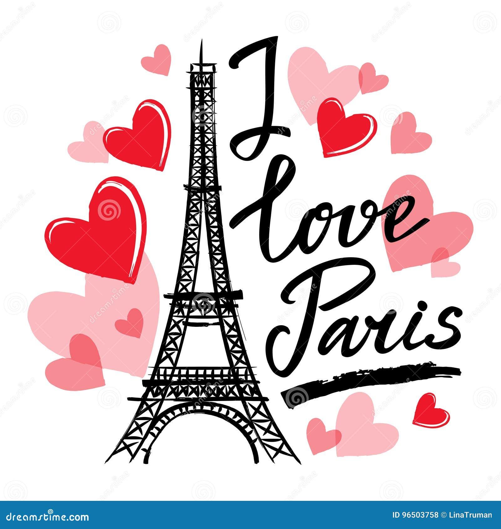 La torre de Francia-Eiffel del símbolo, los corazones y la frase I aman París