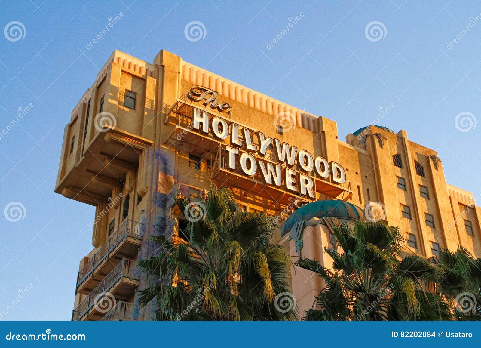 La torre de la zona crepuscular del hotel i de la torre de Hollywood del terror