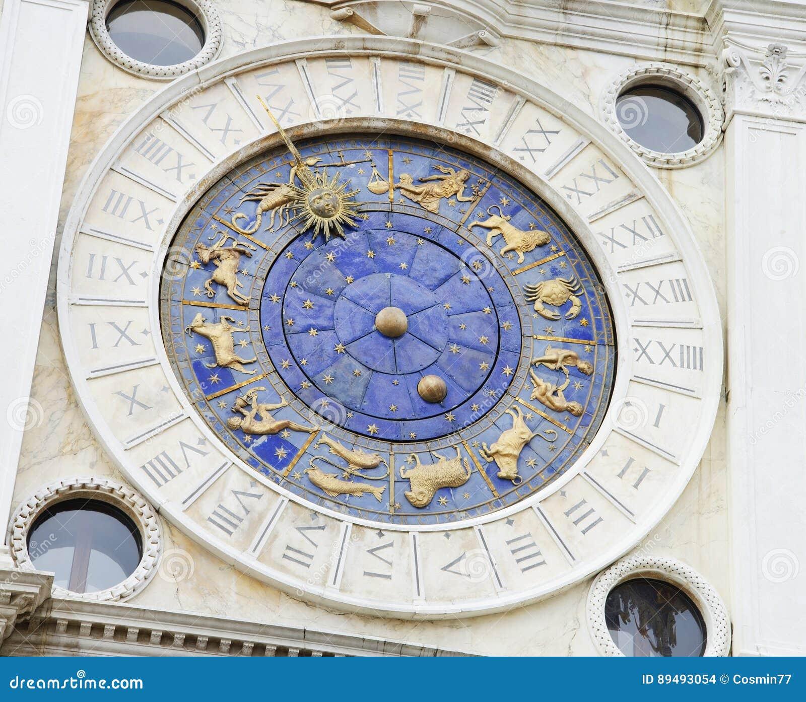 La torre de reloj, detalle arquitectónico, Venecia