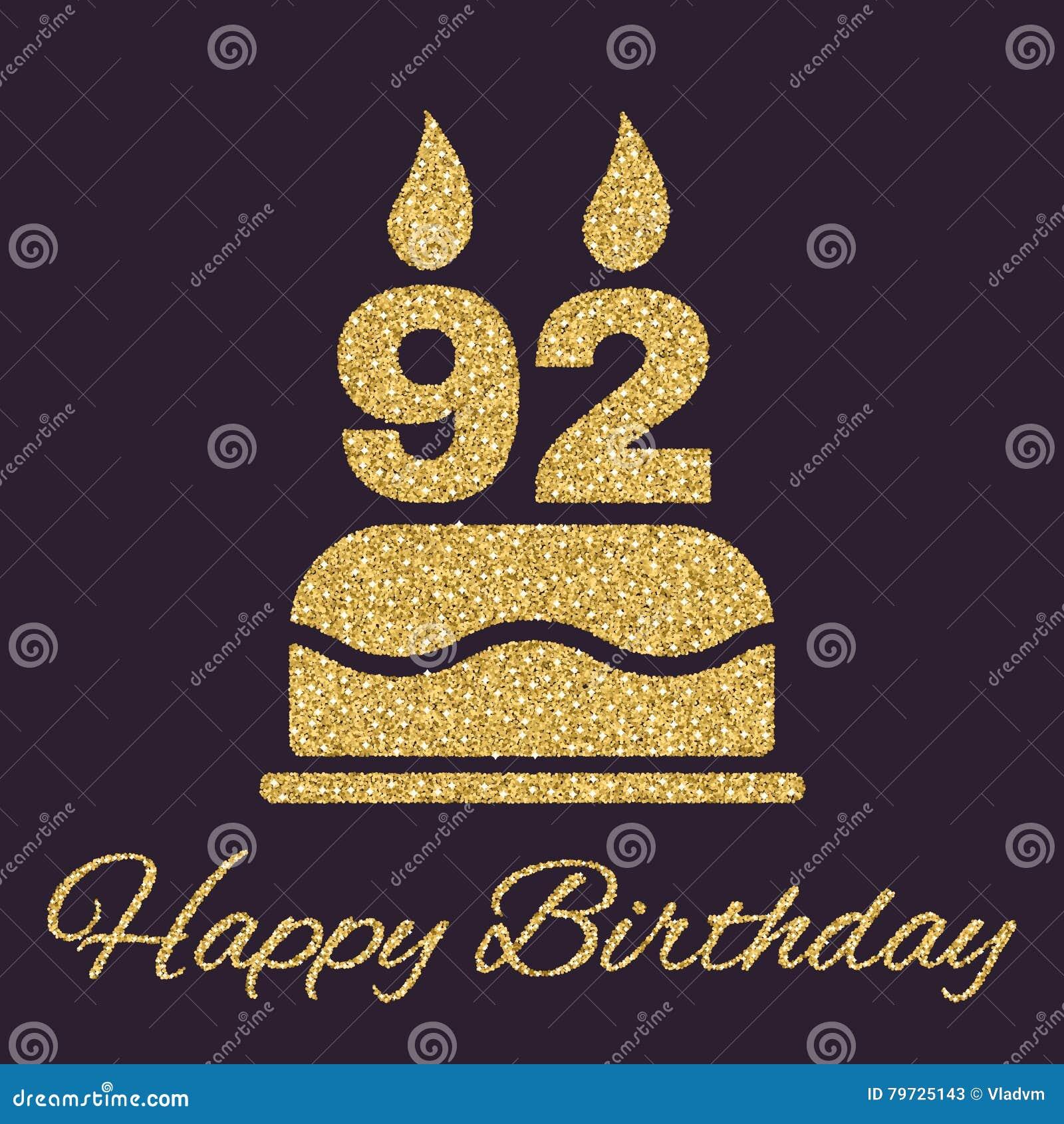 La torta de cumpleaños con las velas bajo la forma de icono del número 92 símbolo del cumpleaños Chispas y brillo del oro