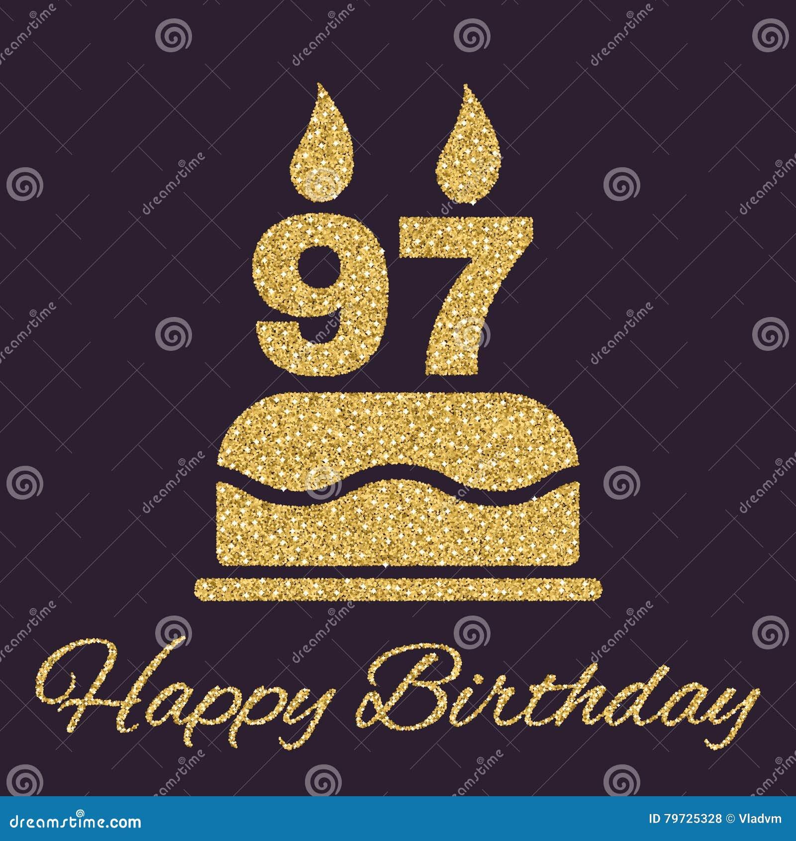 La torta de cumpleaños con las velas bajo la forma de icono del número 97 símbolo del cumpleaños Chispas y brillo del oro