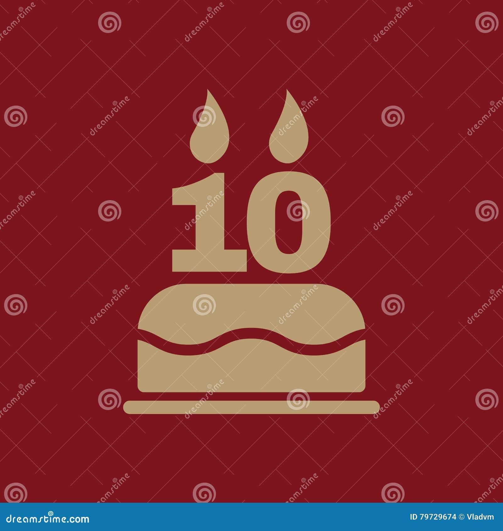 La torta de cumpleaños con las velas bajo la forma de icono del número 10 símbolo del cumpleaños plano