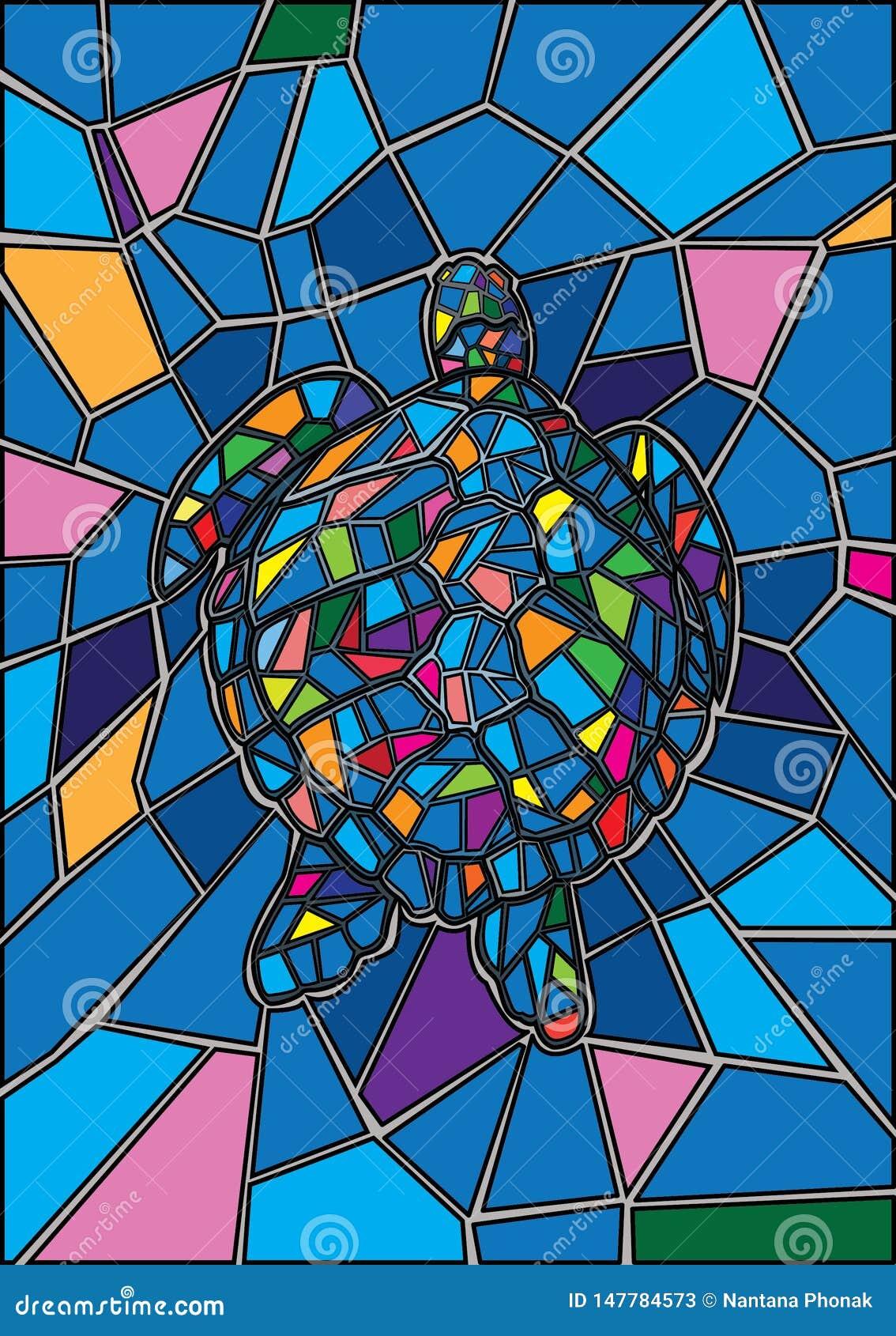La tortue a souillé le verre en verre et multicolore