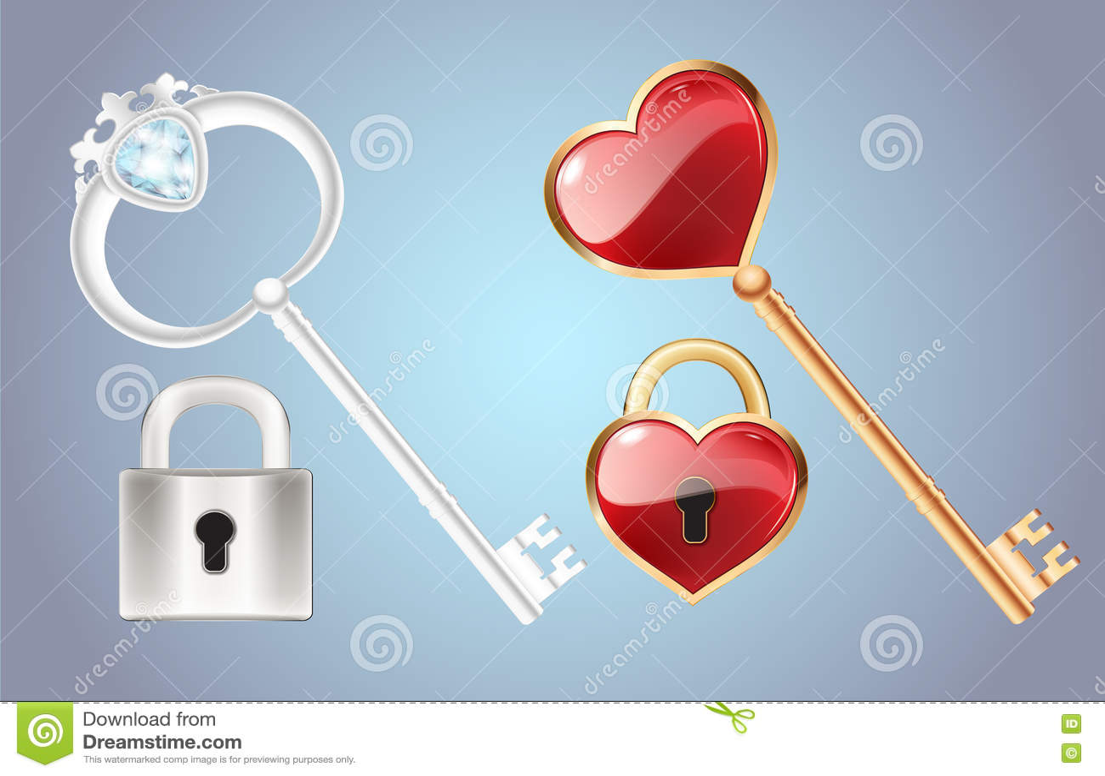 La touche fonctions étendues avec le diamant et l or a fermé la serrure de porte de serrure avec un vecteur rouge de coeur