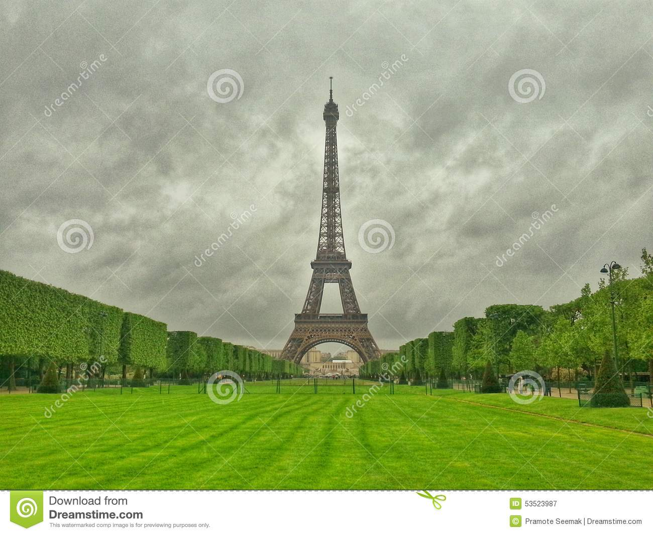 la tour eiffel champs de mars paris france stock photo image 53523987. Black Bedroom Furniture Sets. Home Design Ideas