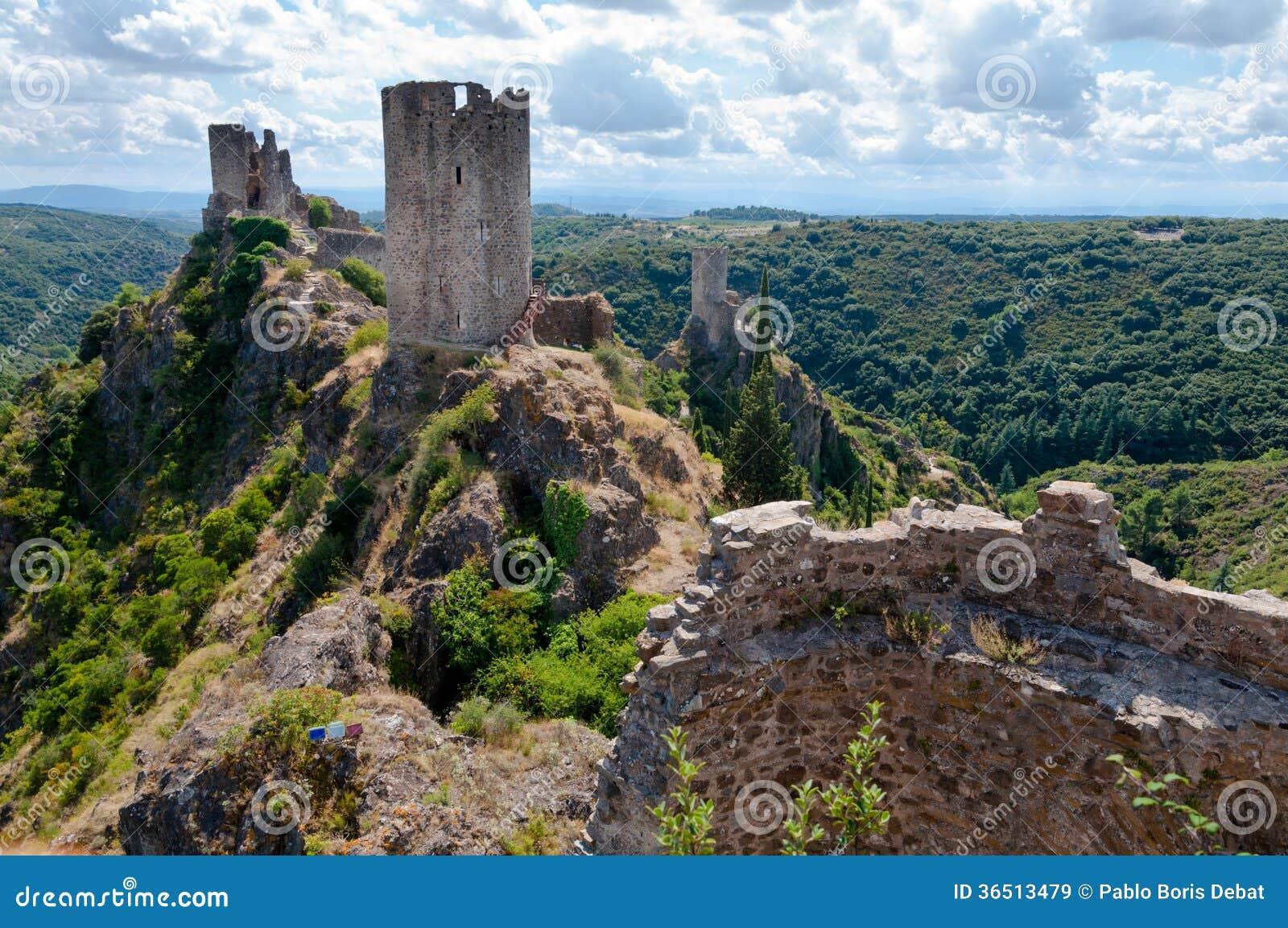 La Tour Regine Surdespine and Quertinheux towers at Lastours