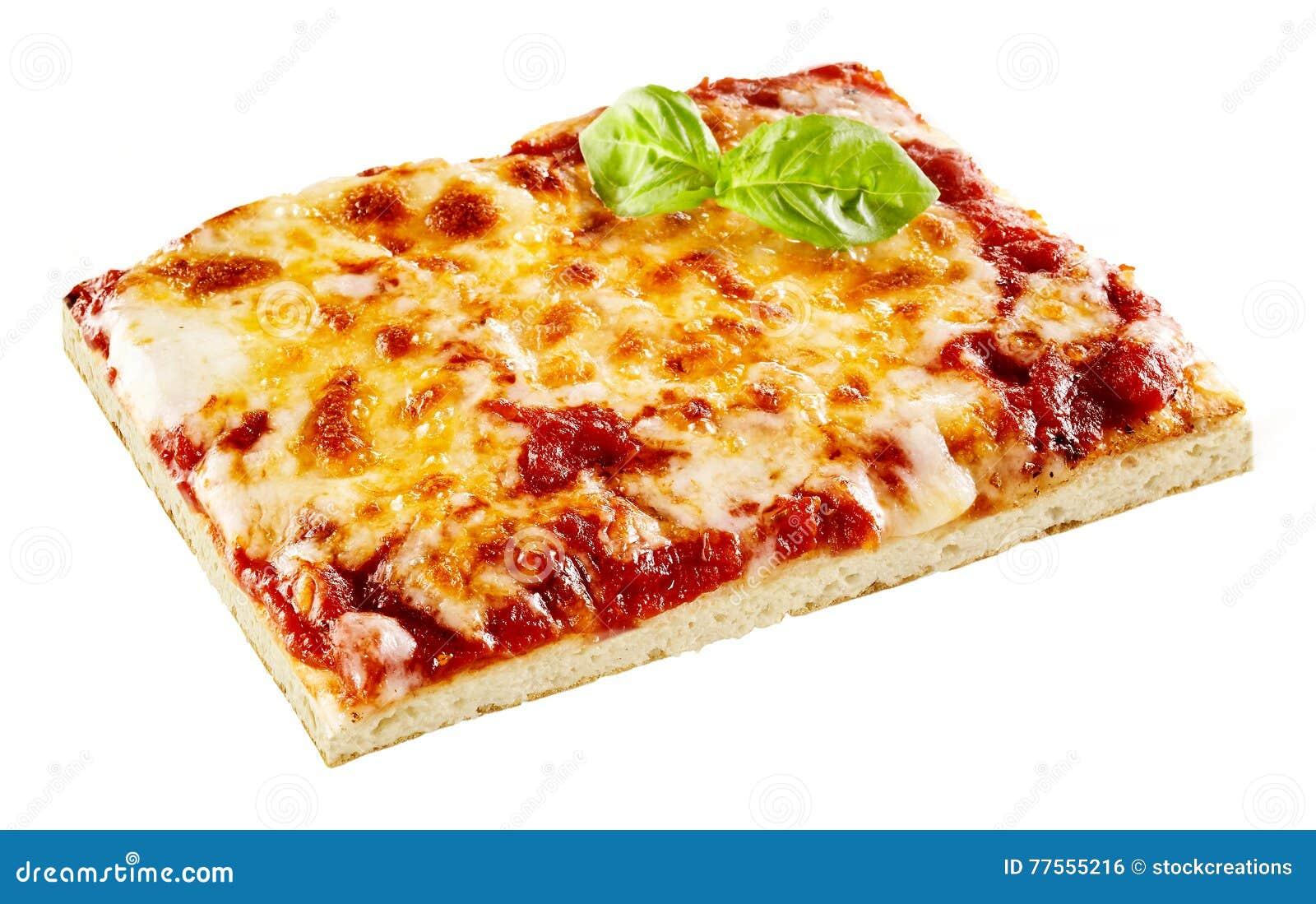 la tranche carr e de pizza de fromage avec le basilic part photo stock image du nourriture. Black Bedroom Furniture Sets. Home Design Ideas