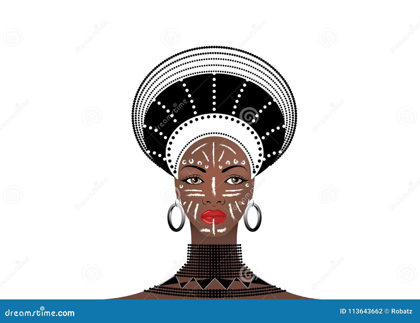 La tribu africaine vêtx le zoulou femelle, portrait de femme sud-africaine mignonne Habillement typique pour les femmes mariées,