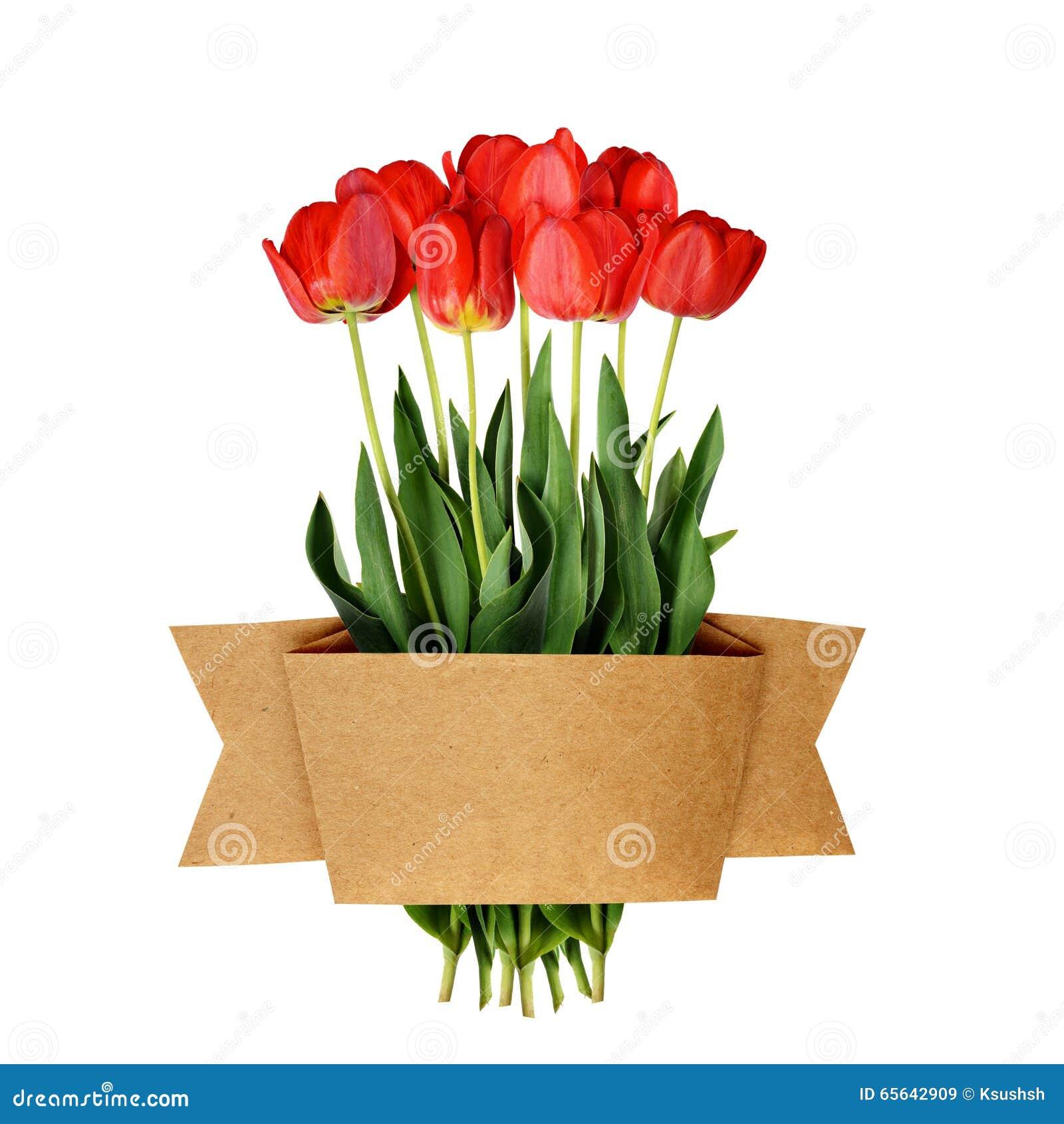 La tulipe fleurit le ruban de bouquet et de métier