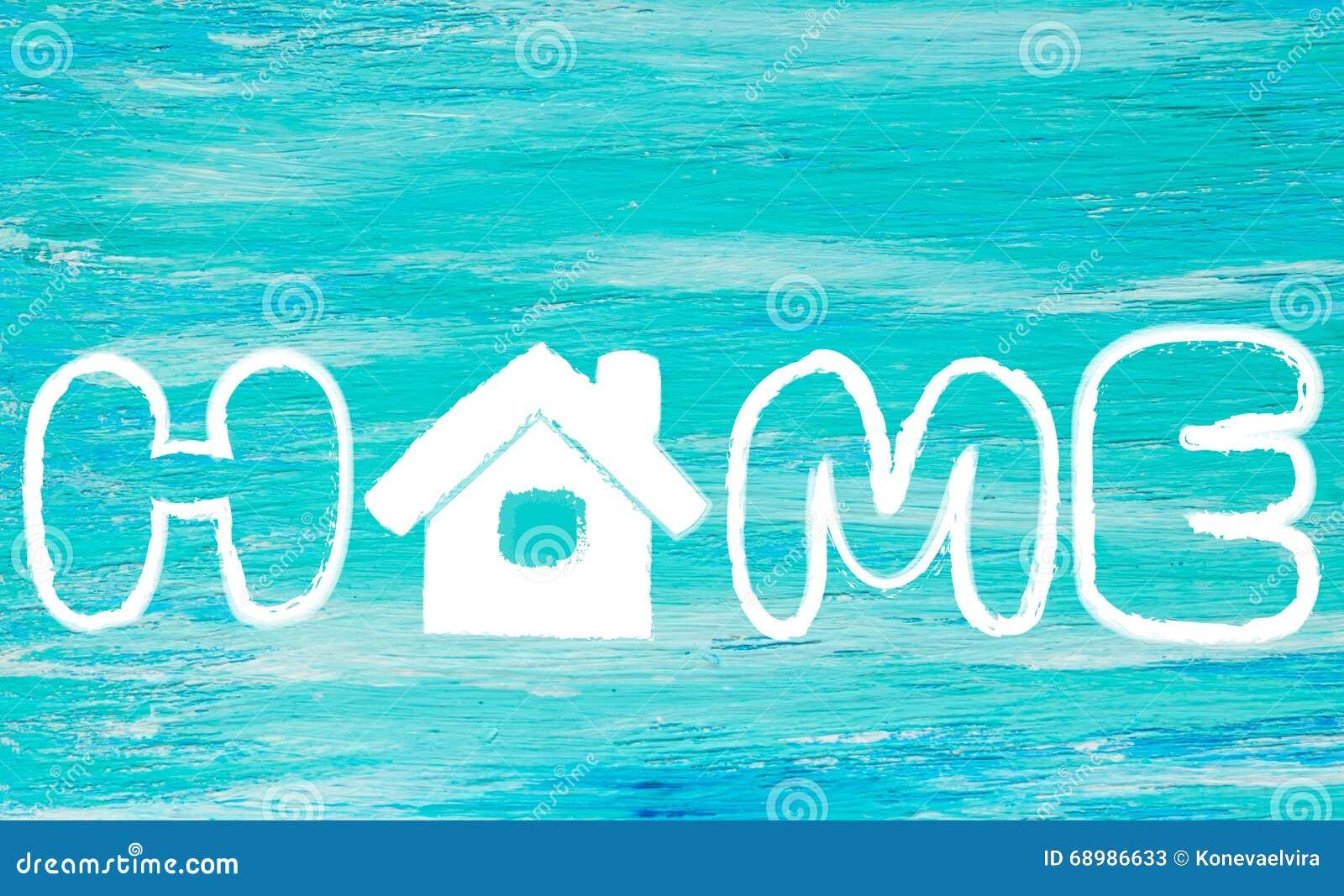 La turquesa del logotipo del hogar de la palabra
