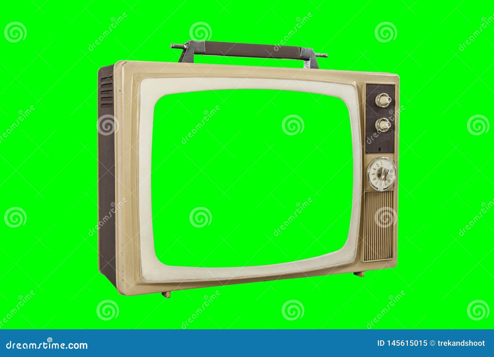 La TV portatile d annata ha isolato con lo schermo ed il fondo verdi dell intensità
