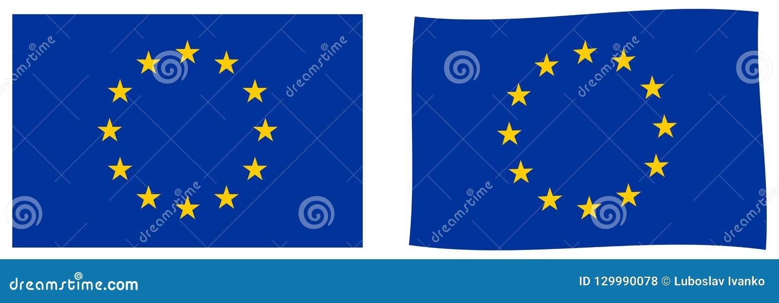 La UE de la unión europea señala por medio de una bandera Versión simple y levemente que agita