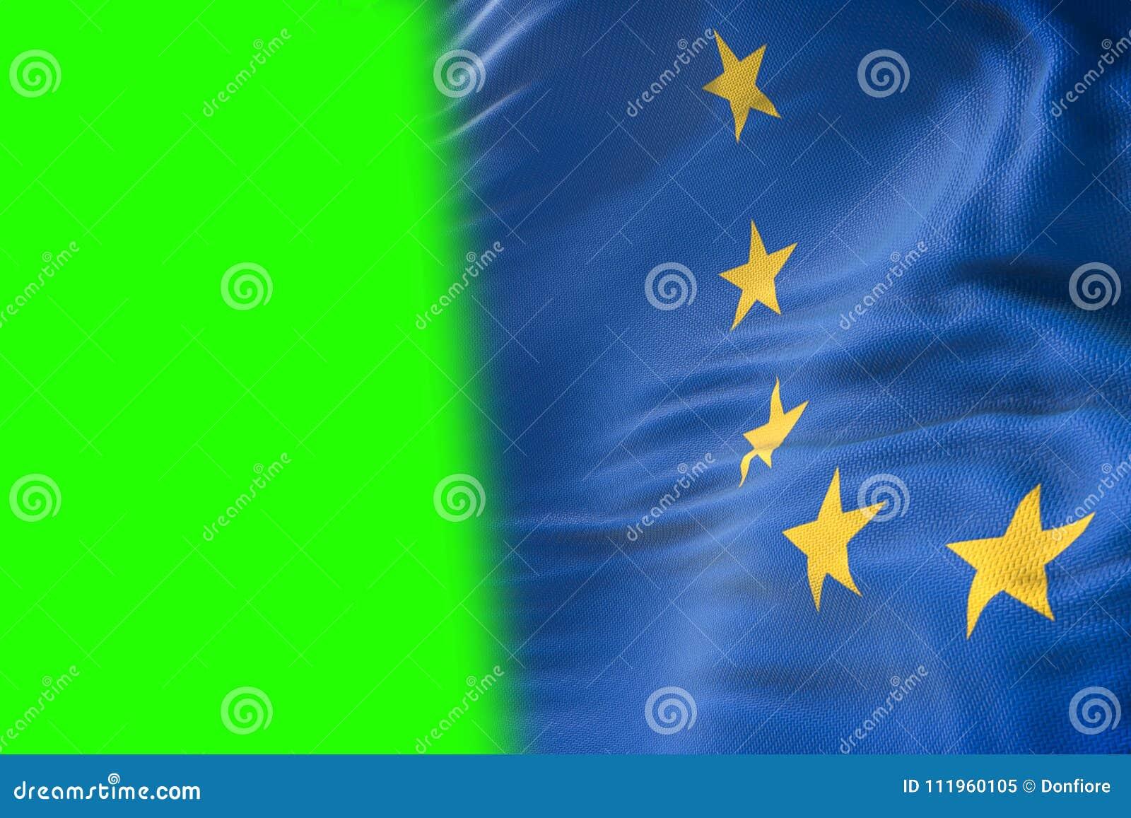 La UE señala por medio de una bandera, la bandera euro, bandera de la unión europea que agita, estrella o del amarillo