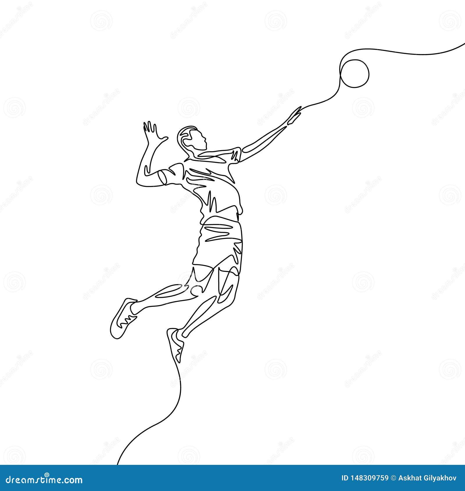La una línea continua jugador de voleibol salta para lanzar la bola