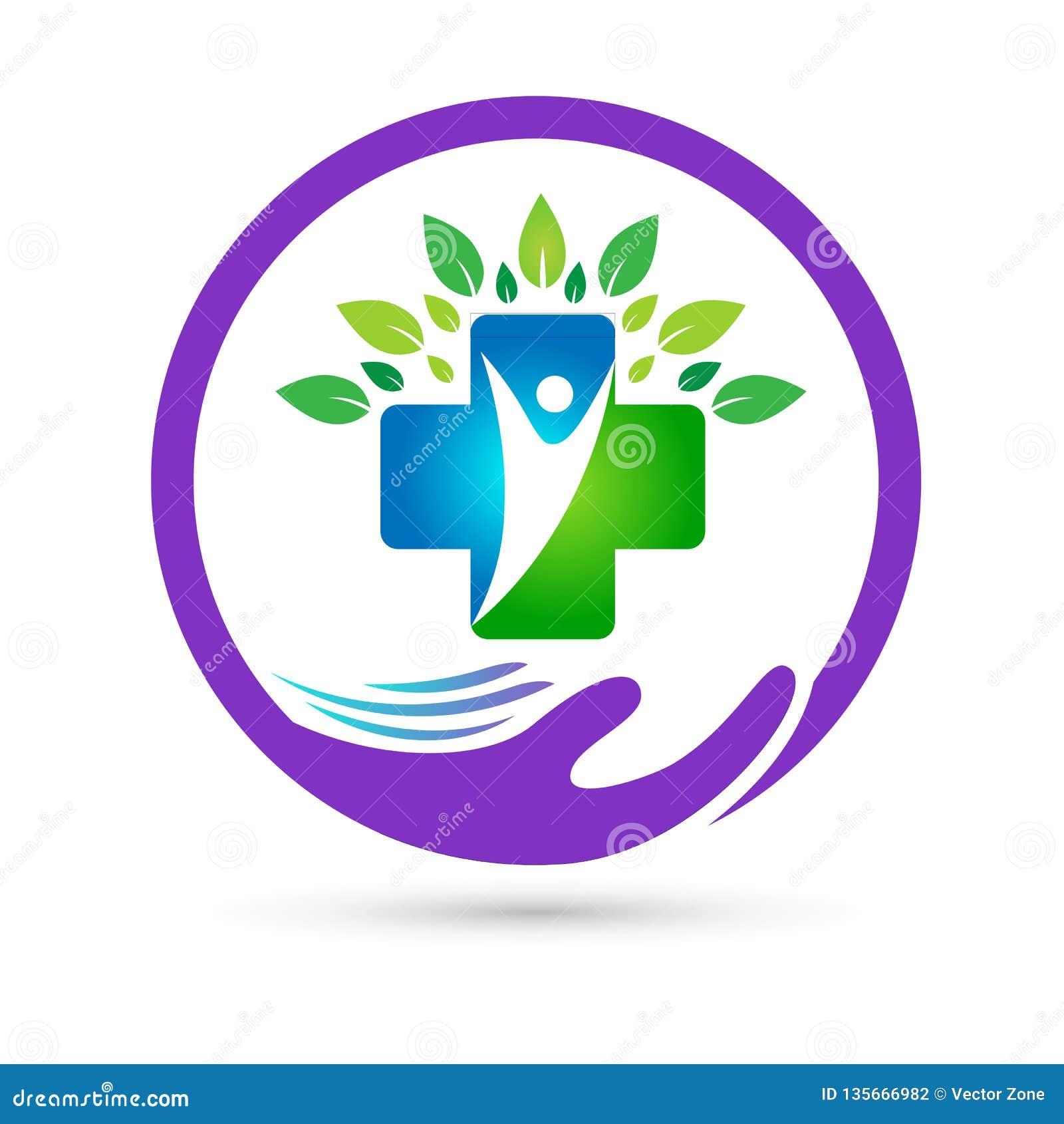 La unión de la asistencia médica de la naturaleza ahorra vector creativo de la muestra del elemento del icono del logotipo del co