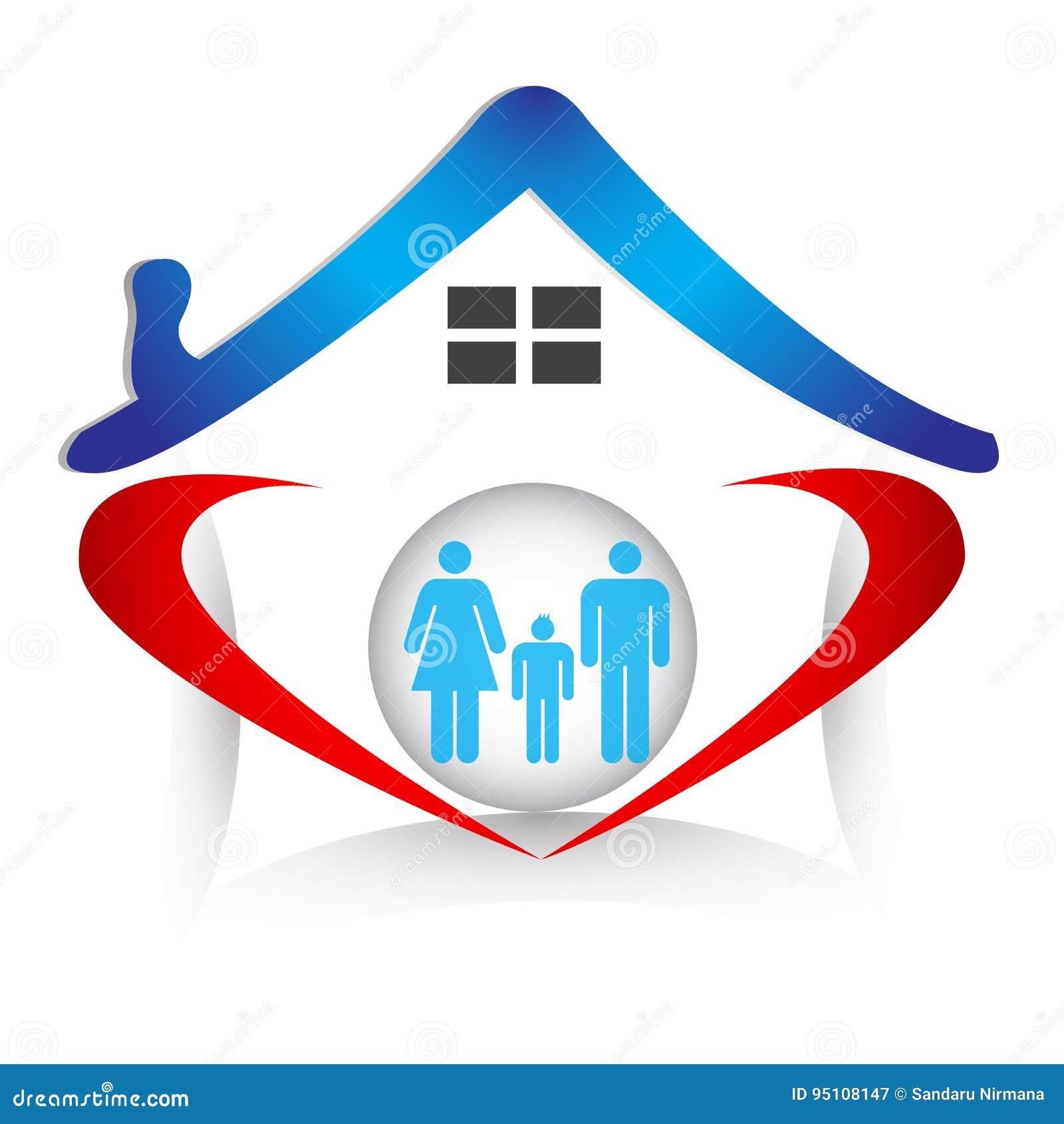 La unión y el amor de la familia en corazón forman el logotipo