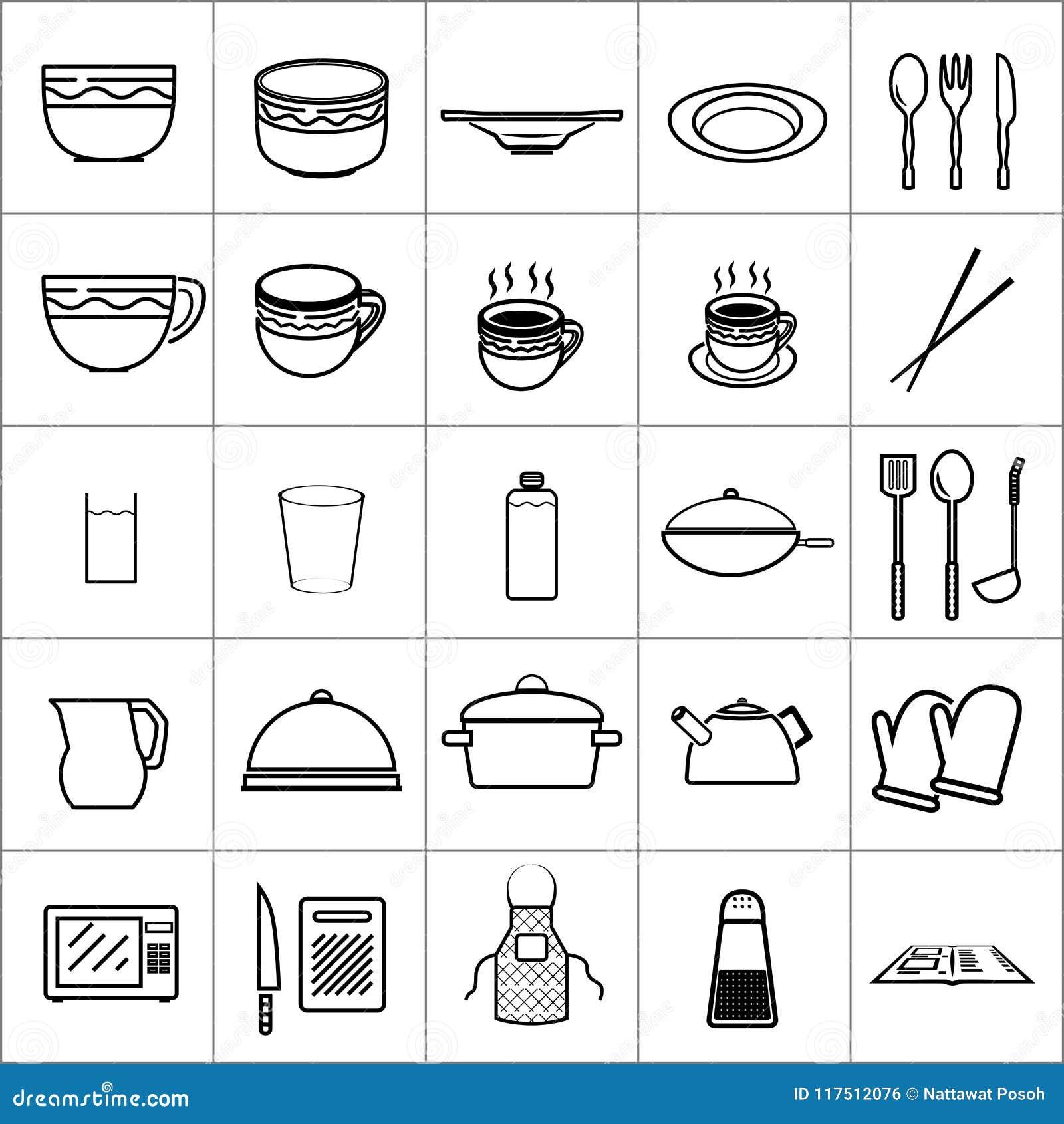 La vaisselle de cuisine d icône usine le restaurant de cuvette de plat