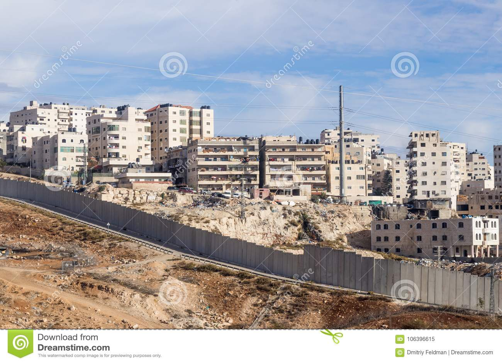 La valla de seguridad israelí que separa Israel de Cisjordania de Jordania - de Judea y de Samaria