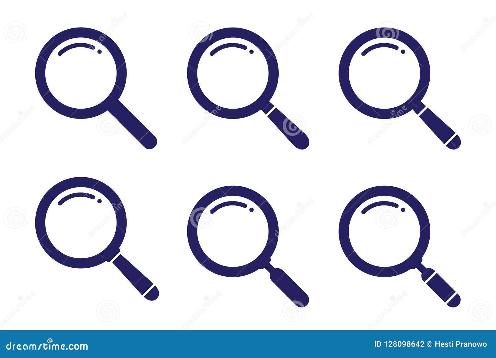 La variación determinada del símbolo de la búsqueda en el ejemplo plano del estilo para el web, el móvil, el uso y el diseño gráf