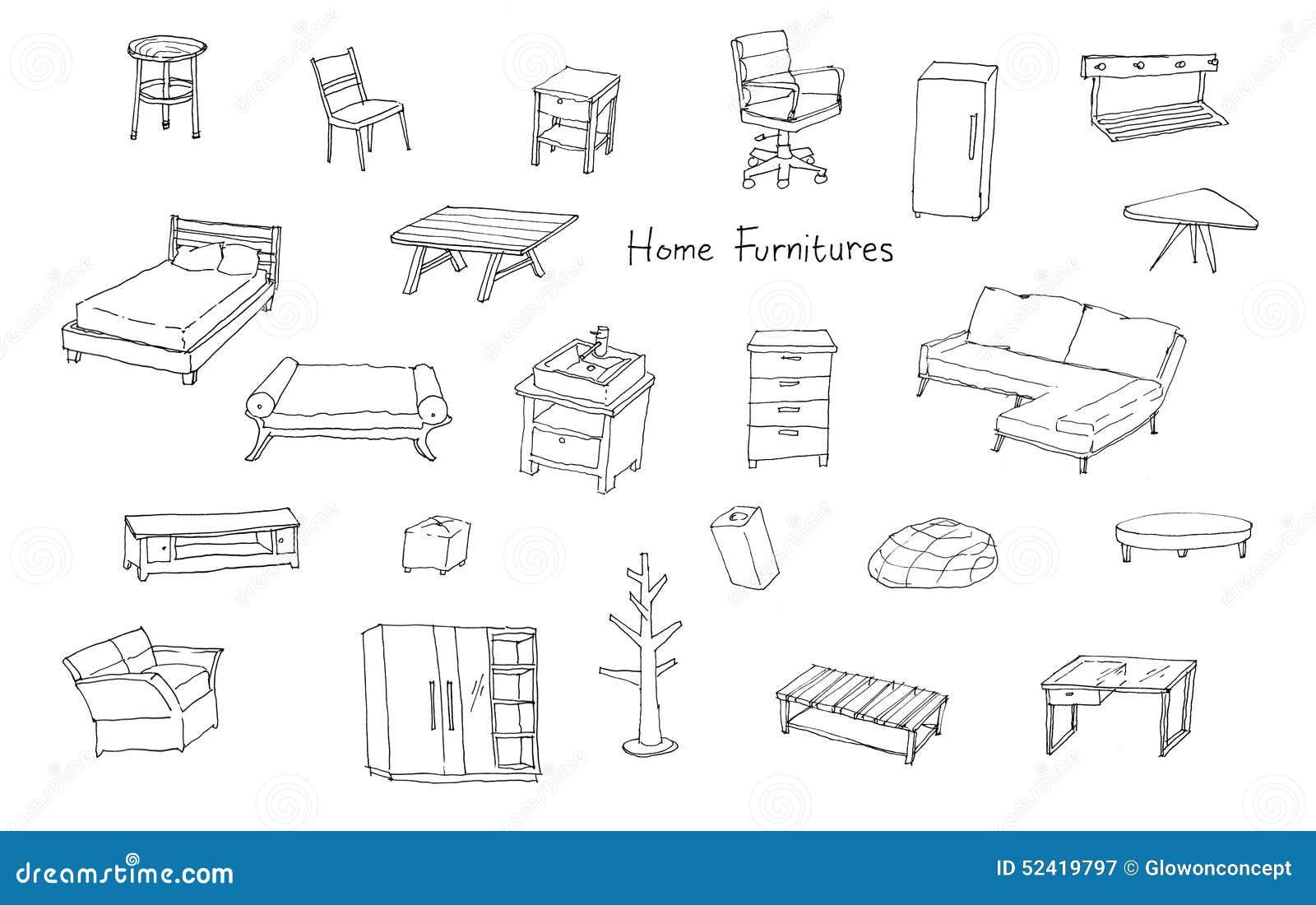 Ilustraci N De Dibujo De Muebles Vector De Stock Macrovector  # Muebles Dibujo Arquitectonico