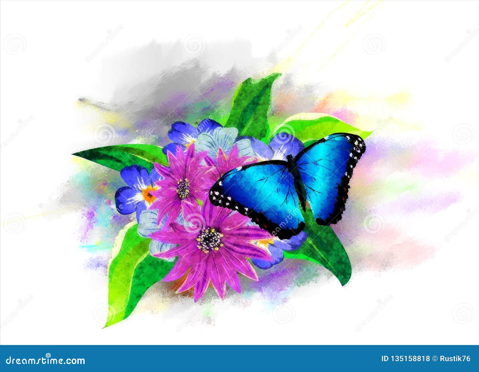 La vegetación y las mariposas tropicales en el fondo de la pintura multicolora salpica