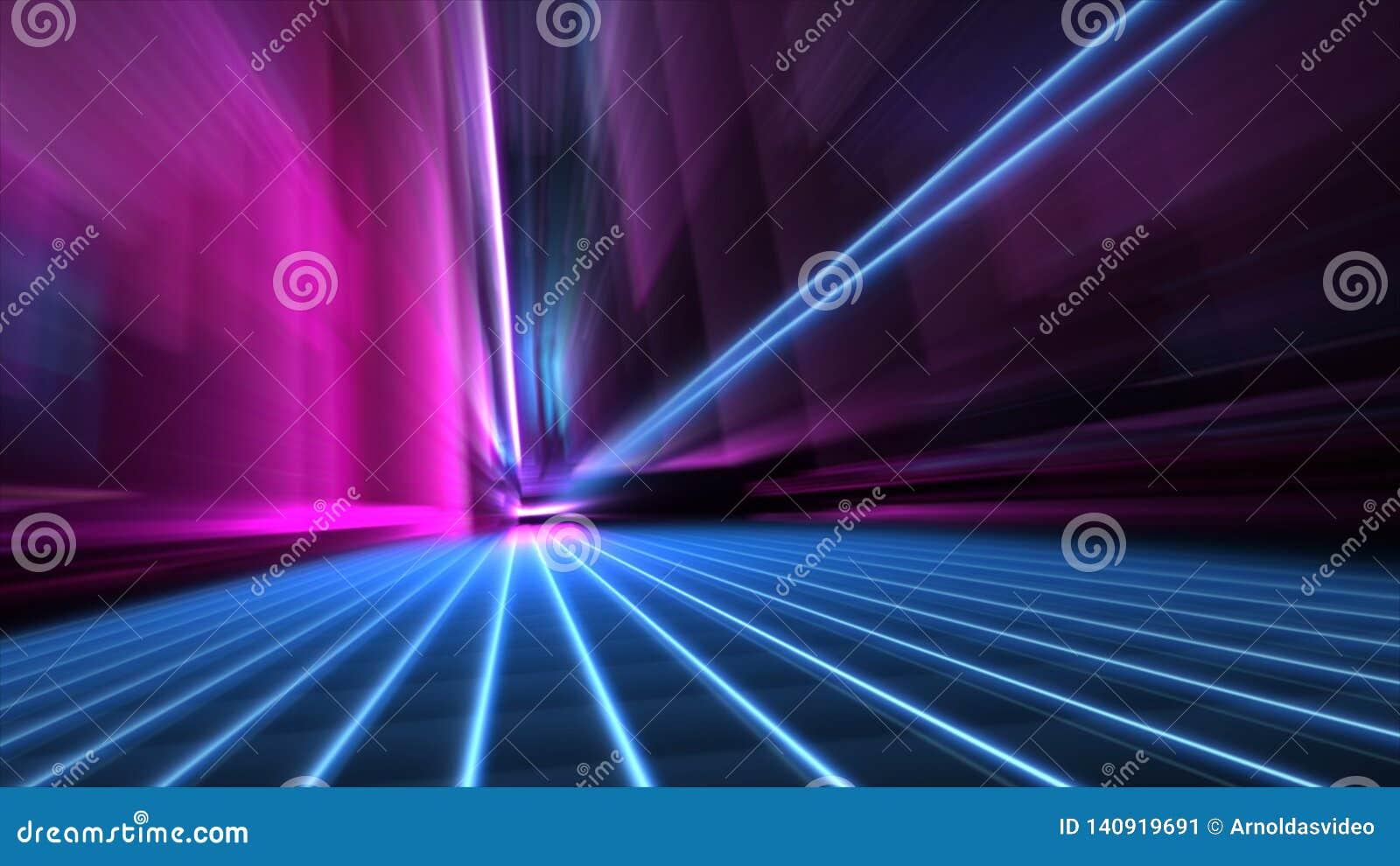 La velocità dell estratto ha offuscato la via al neon blu e rosa di 80s di stile della città alla carta da parati di notte 4k
