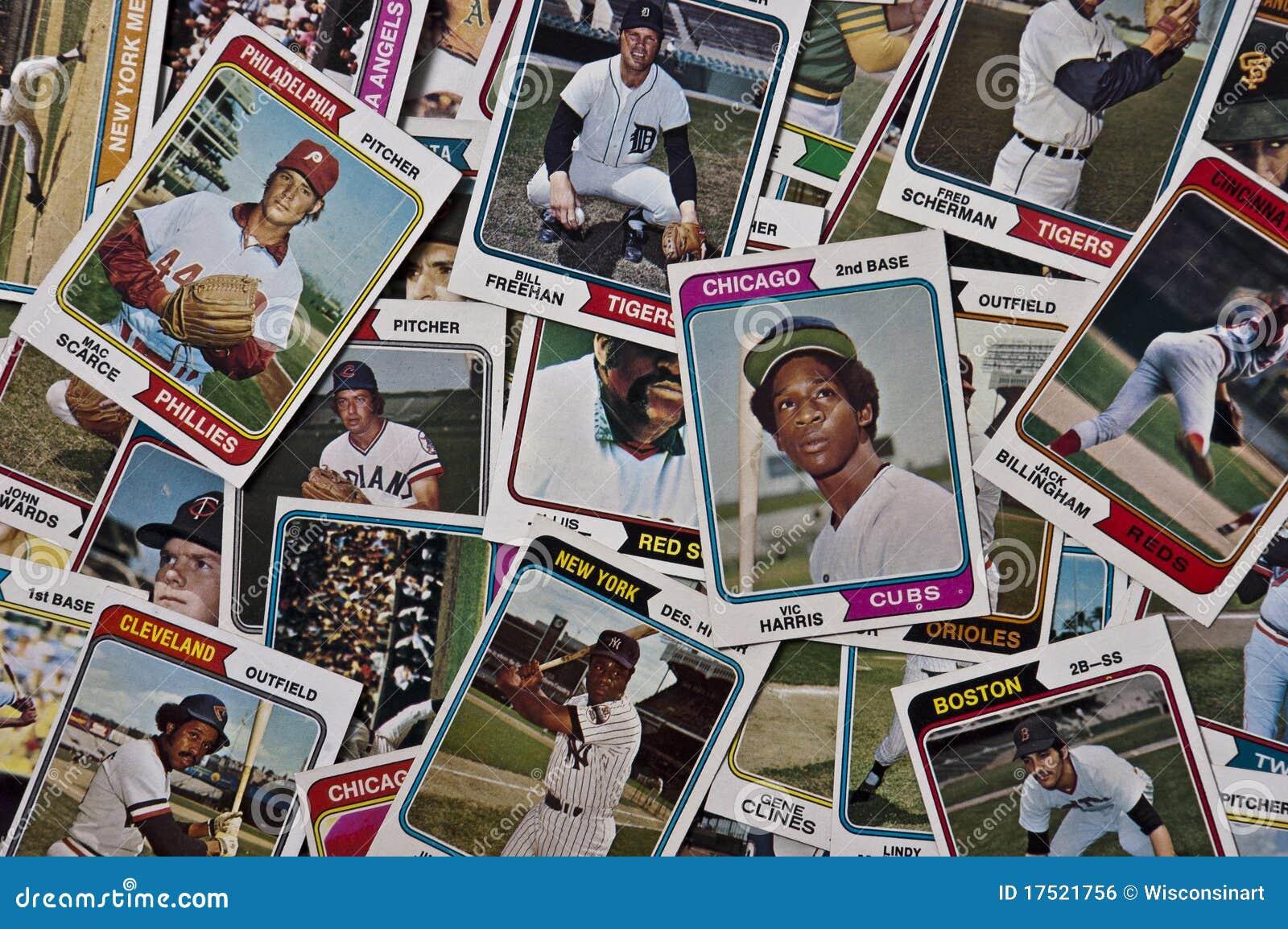 La vendimia vieja de las tarjetas de béisboles de MLB se divierte los objetos de recuerdo