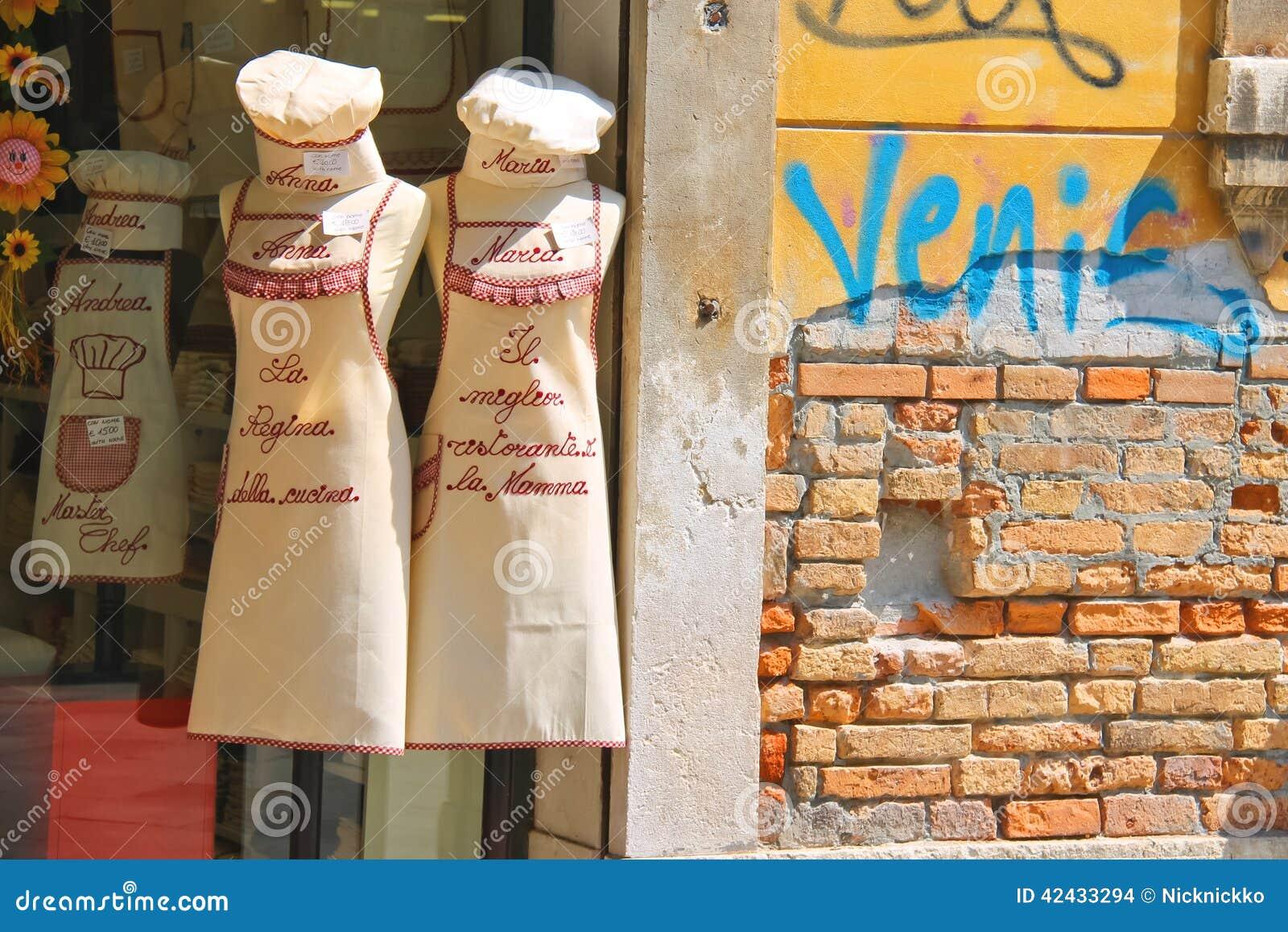 La venta de la cocina del recuerdo viste en Venecia, Italia