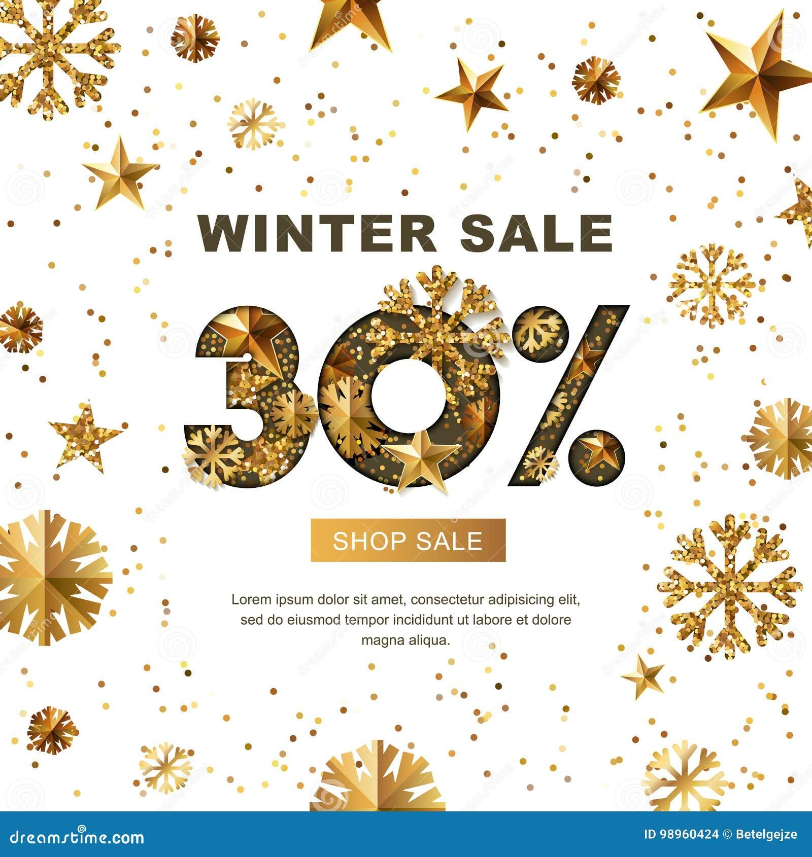 La vente d hiver 30 pour cent, bannière avec de l or 3d se tient le premier rôle et des flocons de neige