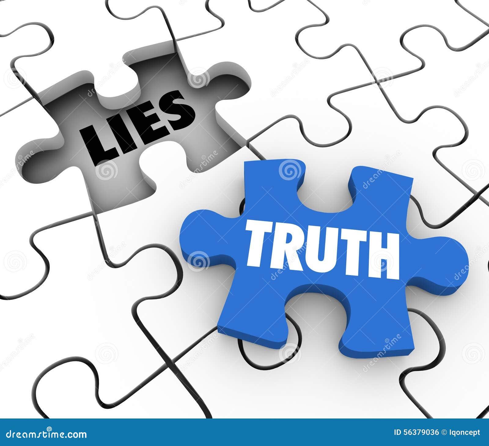 La verdad contra palabras del pedazo del rompecabezas de las mentiras compite los hechos honestos enteros