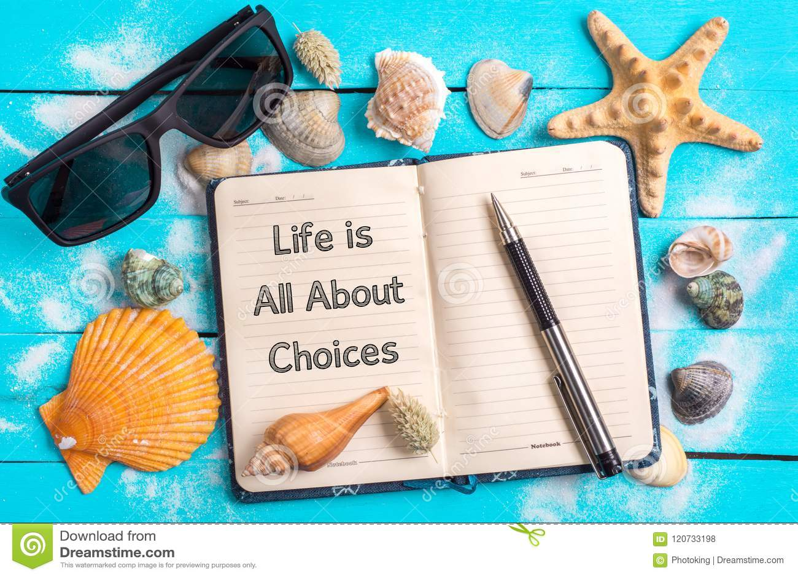 La vie est tout au sujet des choix textotent dans le carnet avec des peu Marine Items