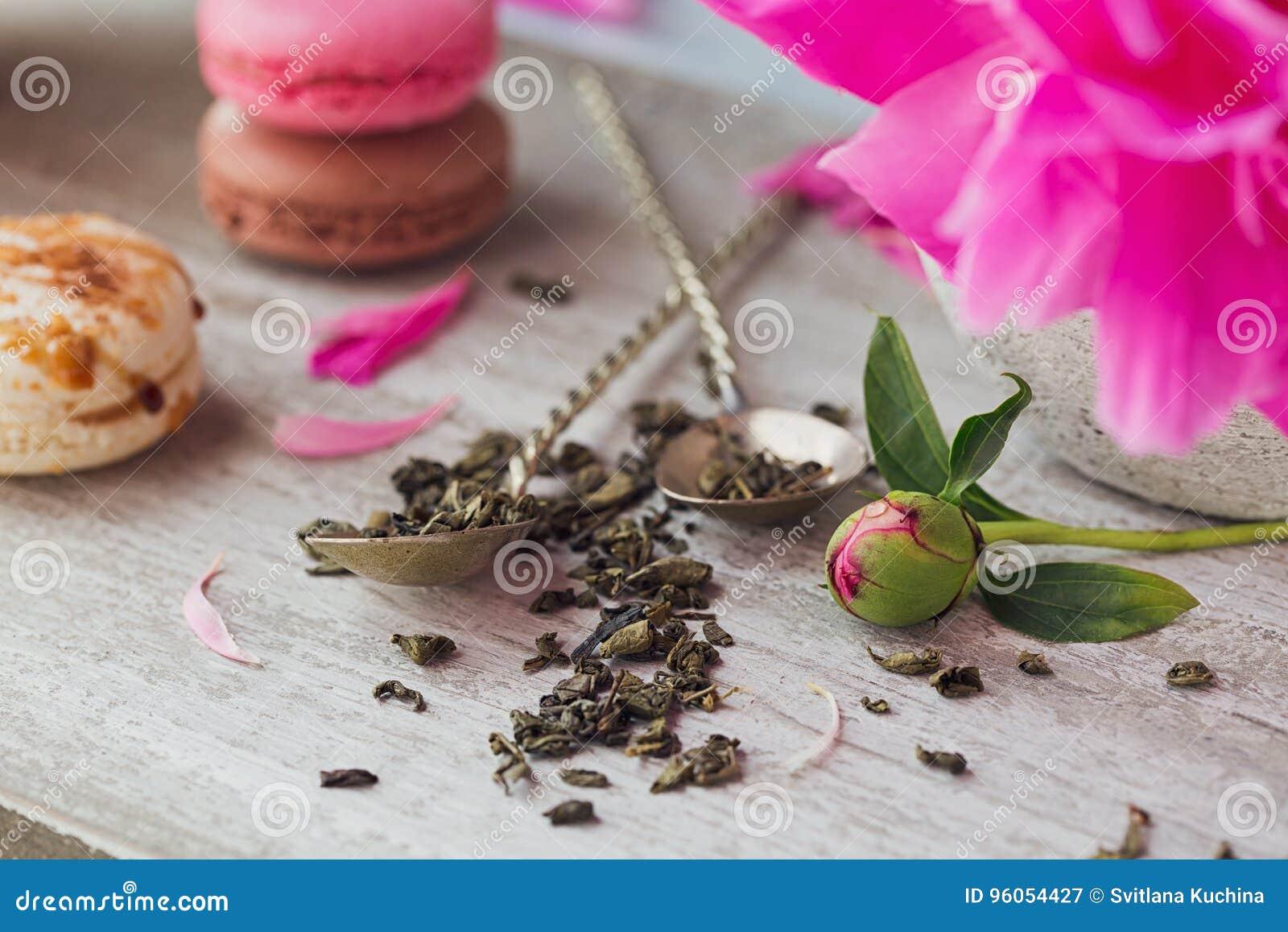 La vie toujours avec des fleurs roses de pivoine et une tasse de fines herbes ou de vert