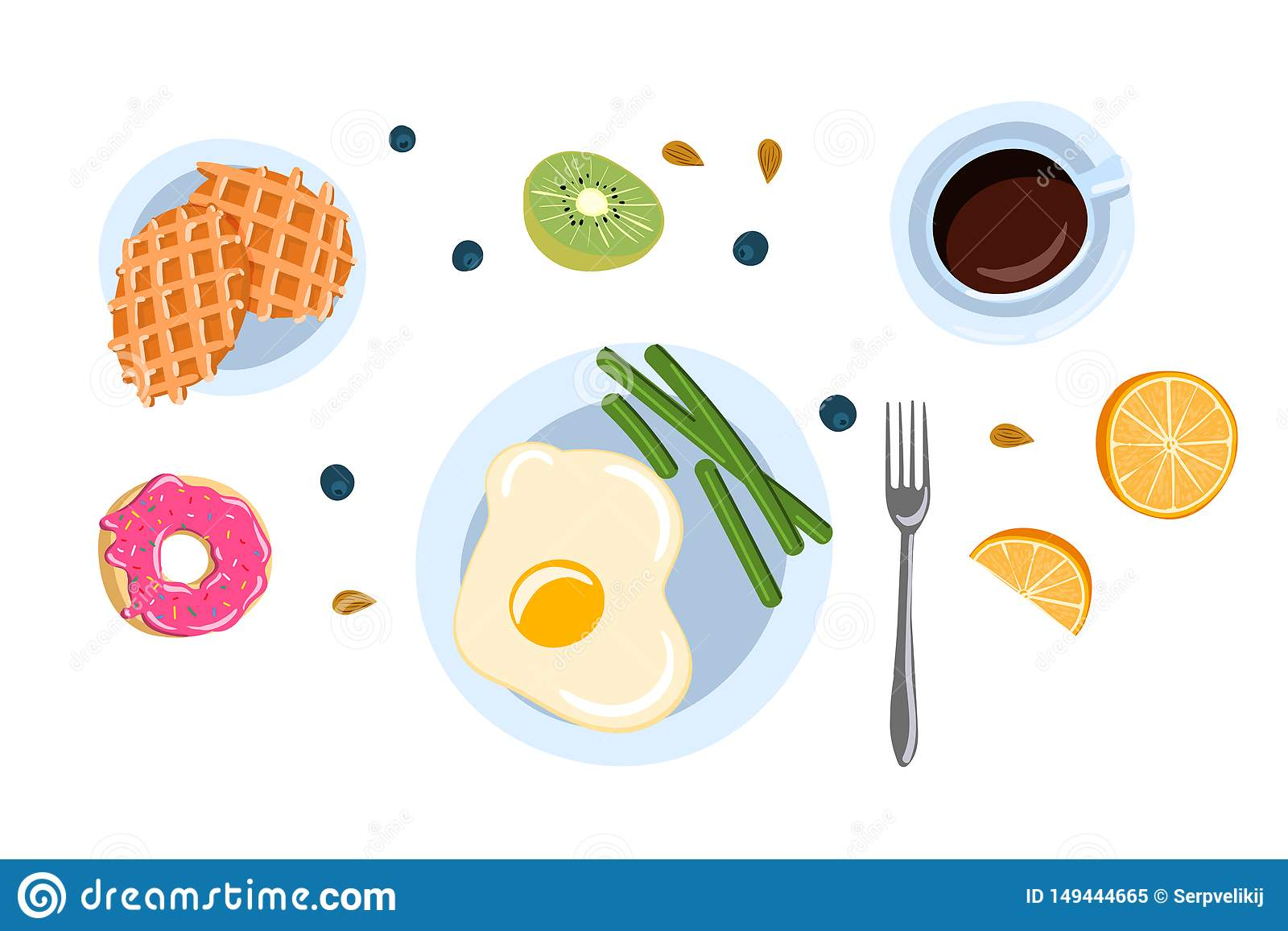 La vie toujours avec le petit déjeuner dans une illustration plate de vecteur de vue supérieure de style de griffonnage