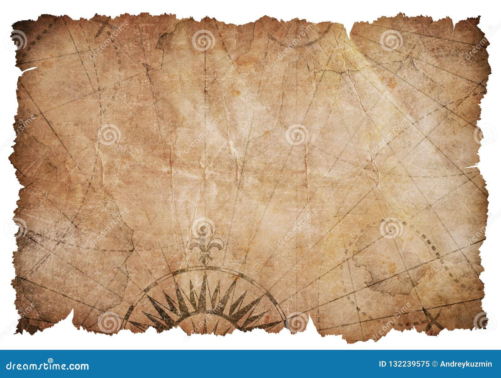 Carte Au Tresor Dechire.La Vieille Carte Dechiree De Tresor A Isole Image Stock