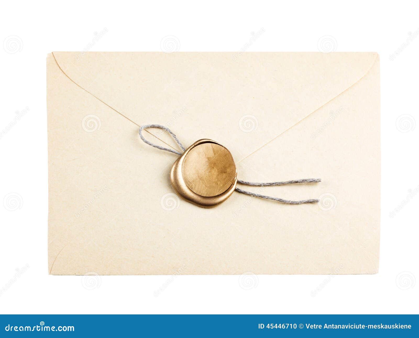 La vieille enveloppe de courrier avec le joint de cire d or emboutit