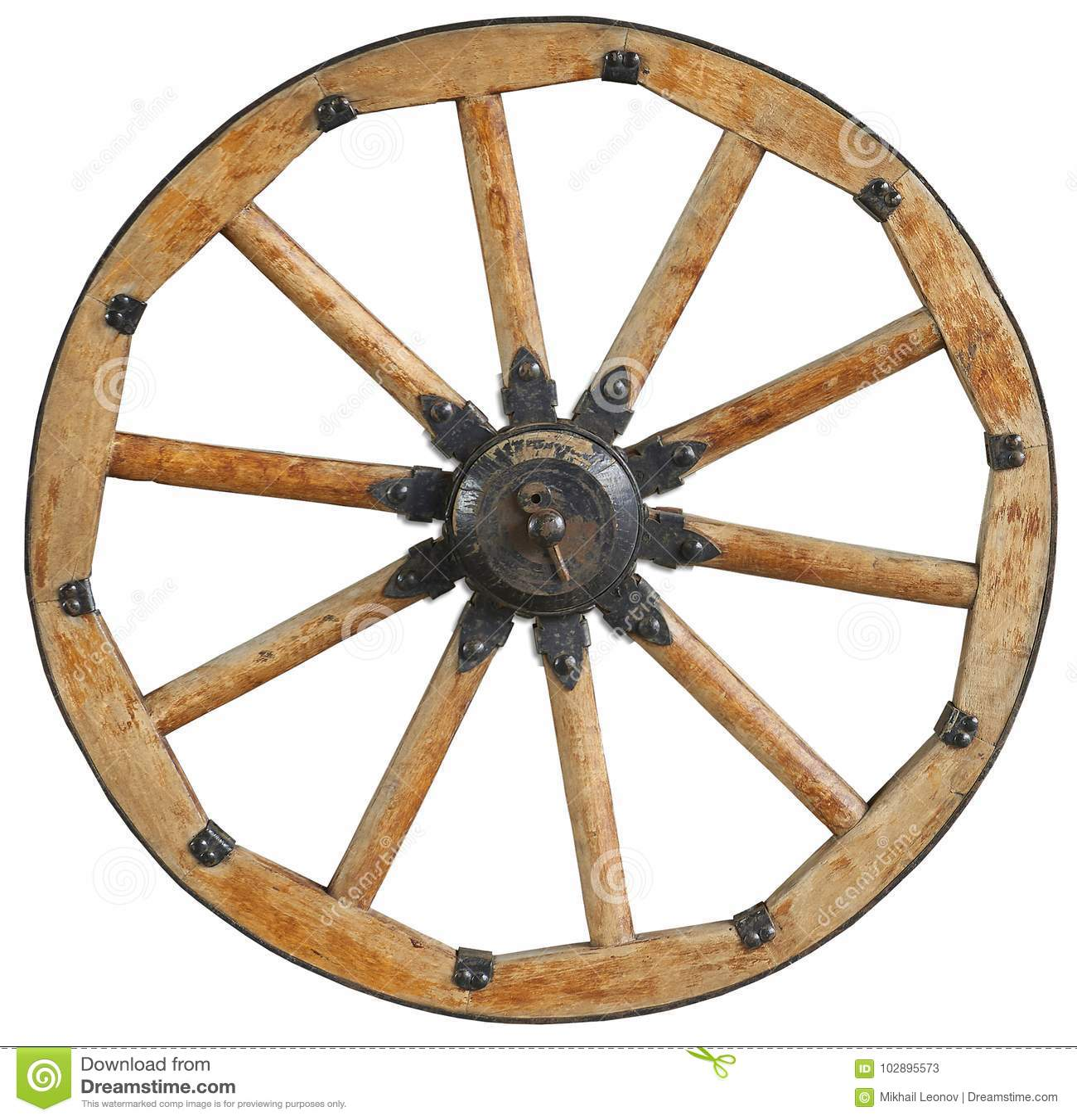 La vieille jante en bois antique classique de roues a parlé avec les parenthèses et les rivets noirs en métal Roue traditionnelle