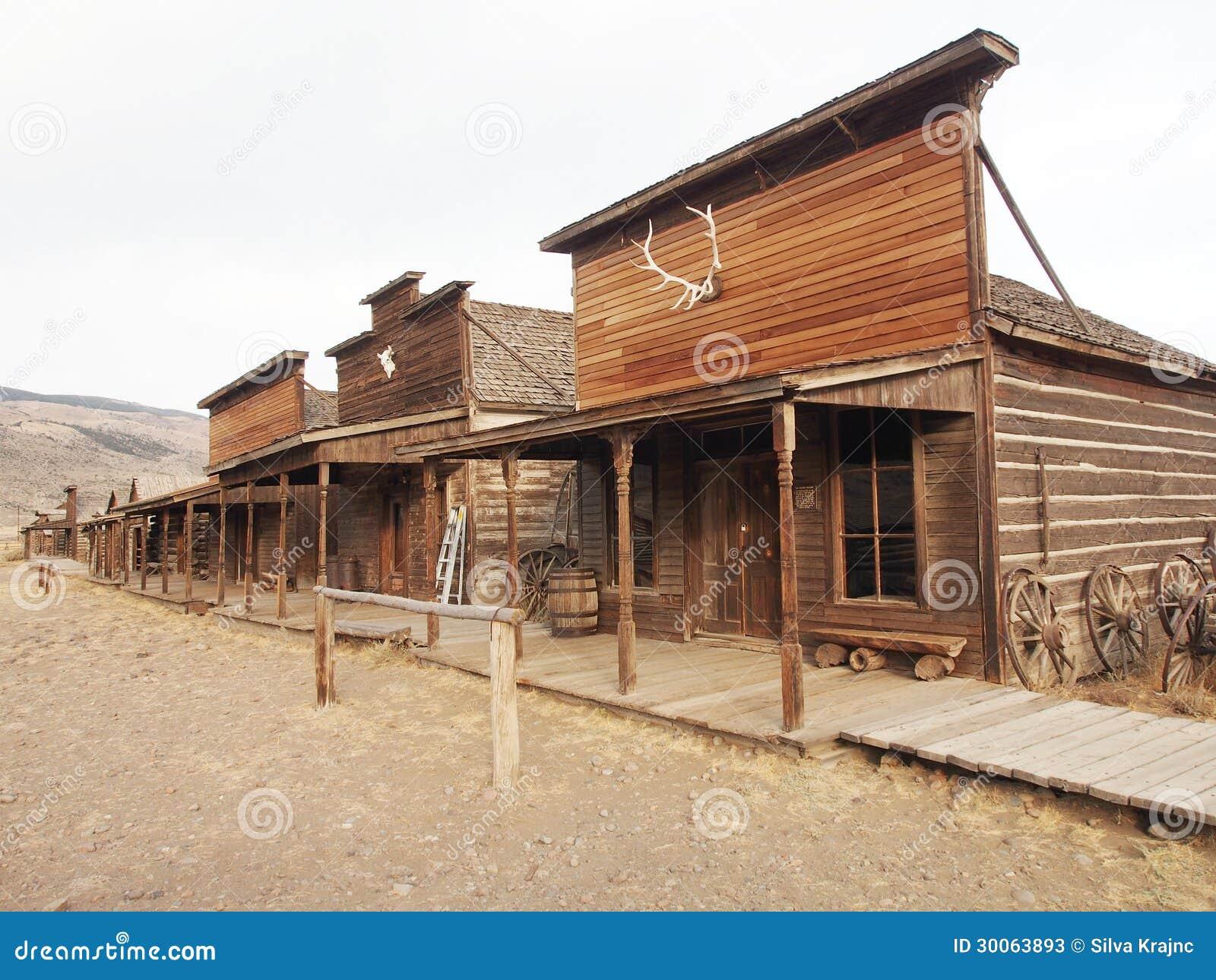 Vieux Chariots Dans Une Ville Fant Me Cody Wyoming Etats
