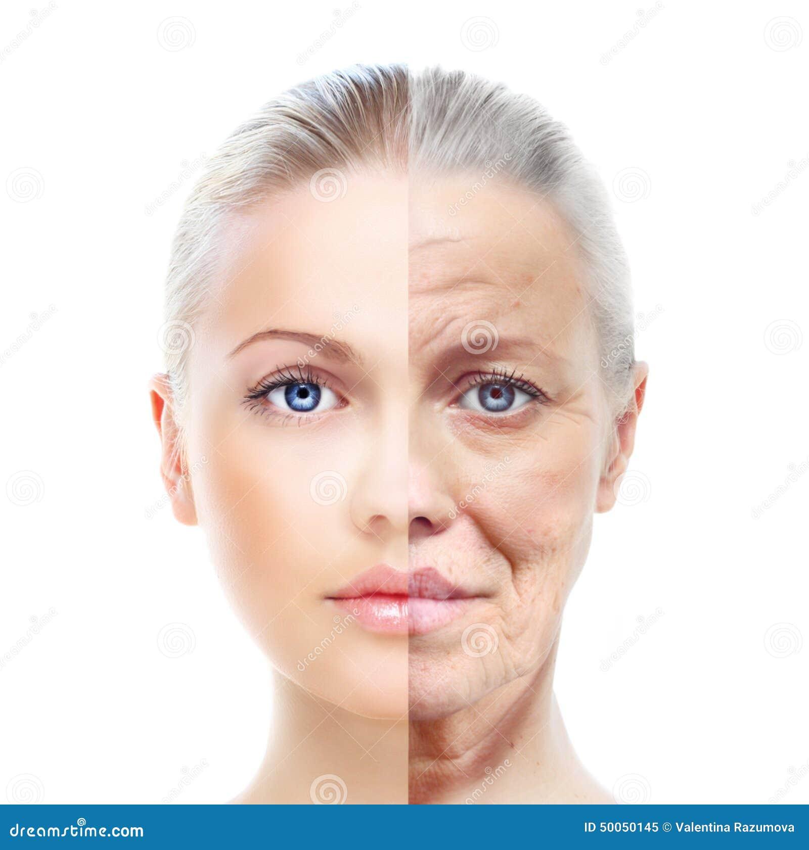 Resultado de imagen de cara mujer joven y mayor