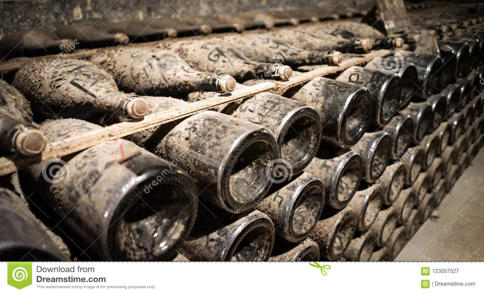 La vigne de Champagne met des actions en bouteille en sous-sol