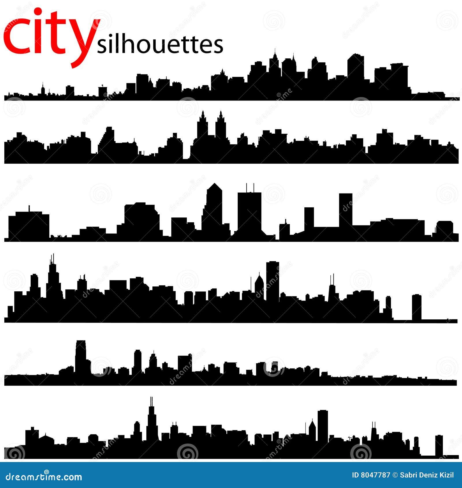 Cityscape Wall Stickers La Ville Silhouette Le Vecteur Photographie Stock Libre De