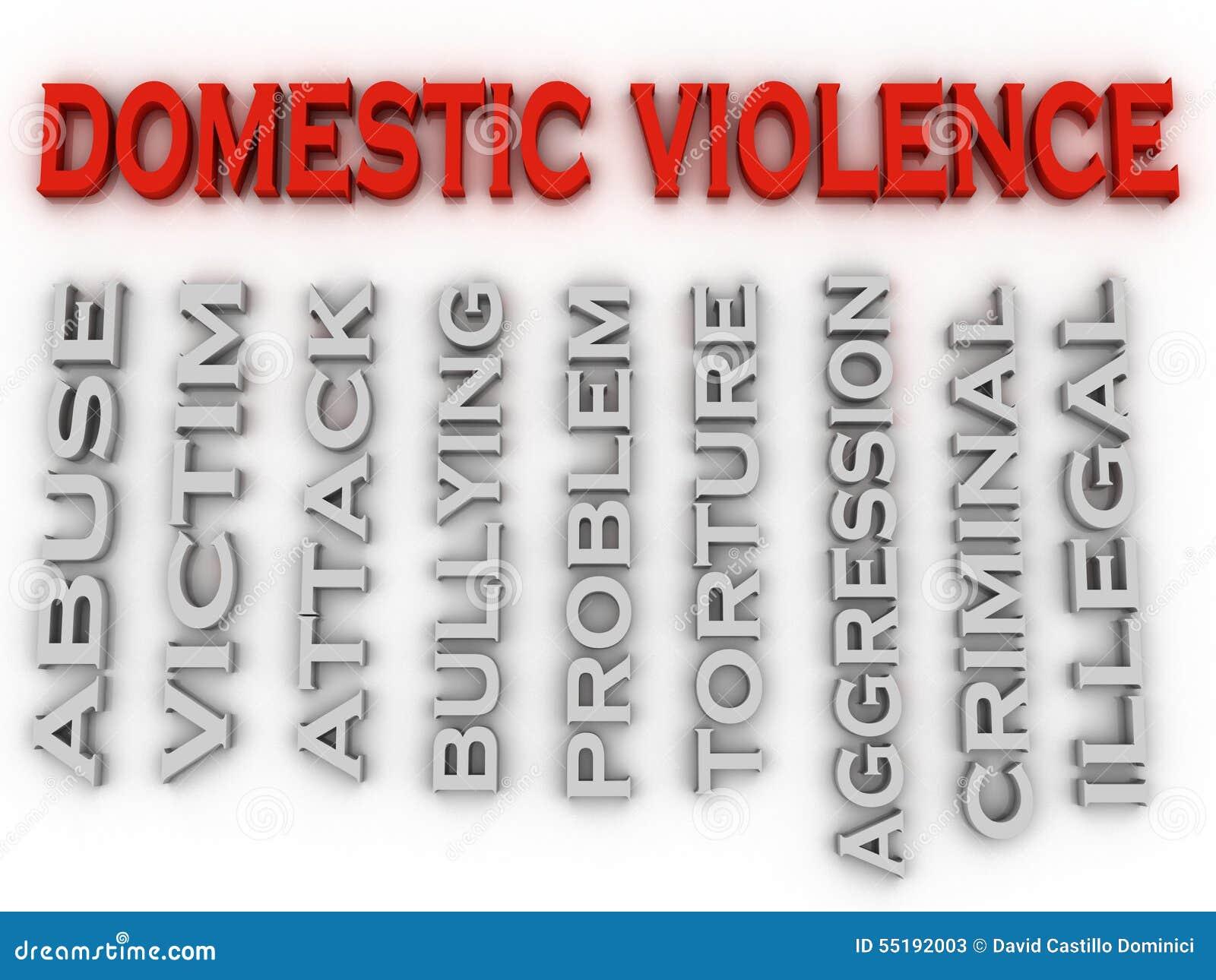 La violencia en el hogar de la imagen 3d publica el fondo de la nube de la palabra del concepto